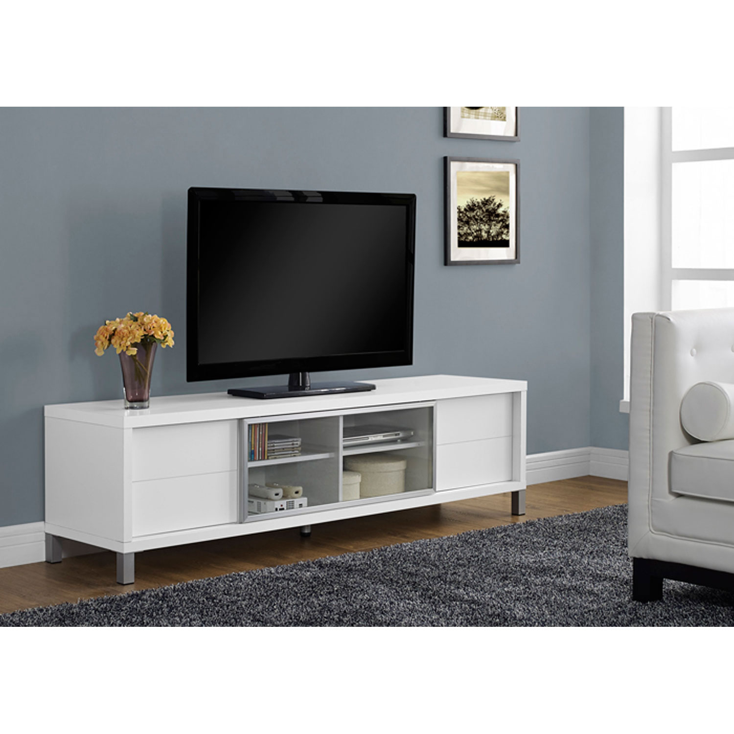 Hawthorne Ave White 70 Inch Tv Console I 2537 | Bellacor Regarding Noah Rustic White 66 Inch Tv Stands (View 8 of 30)