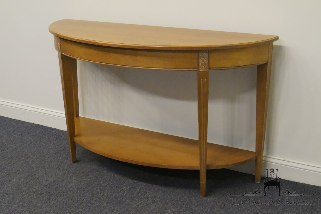 High End Used Furniture | Ethan Allen Swedish Home Crescent Console Inside Ethan Console Tables (View 15 of 30)