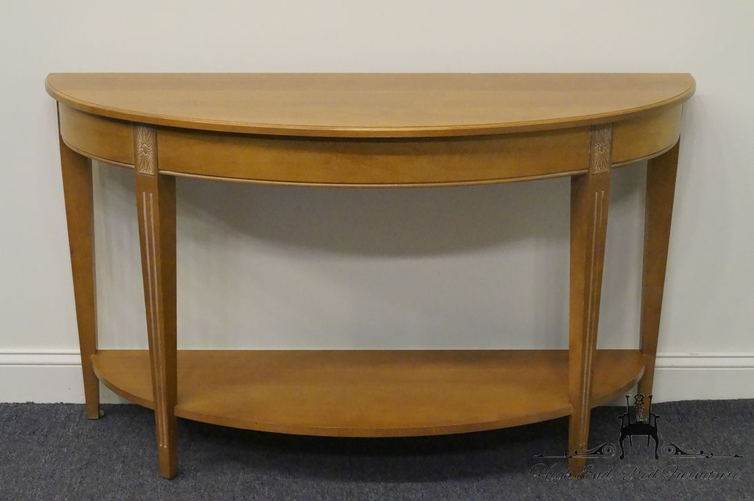 High End Used Furniture | Ethan Allen Swedish Home Crescent Console Within Ethan Console Tables (View 3 of 30)