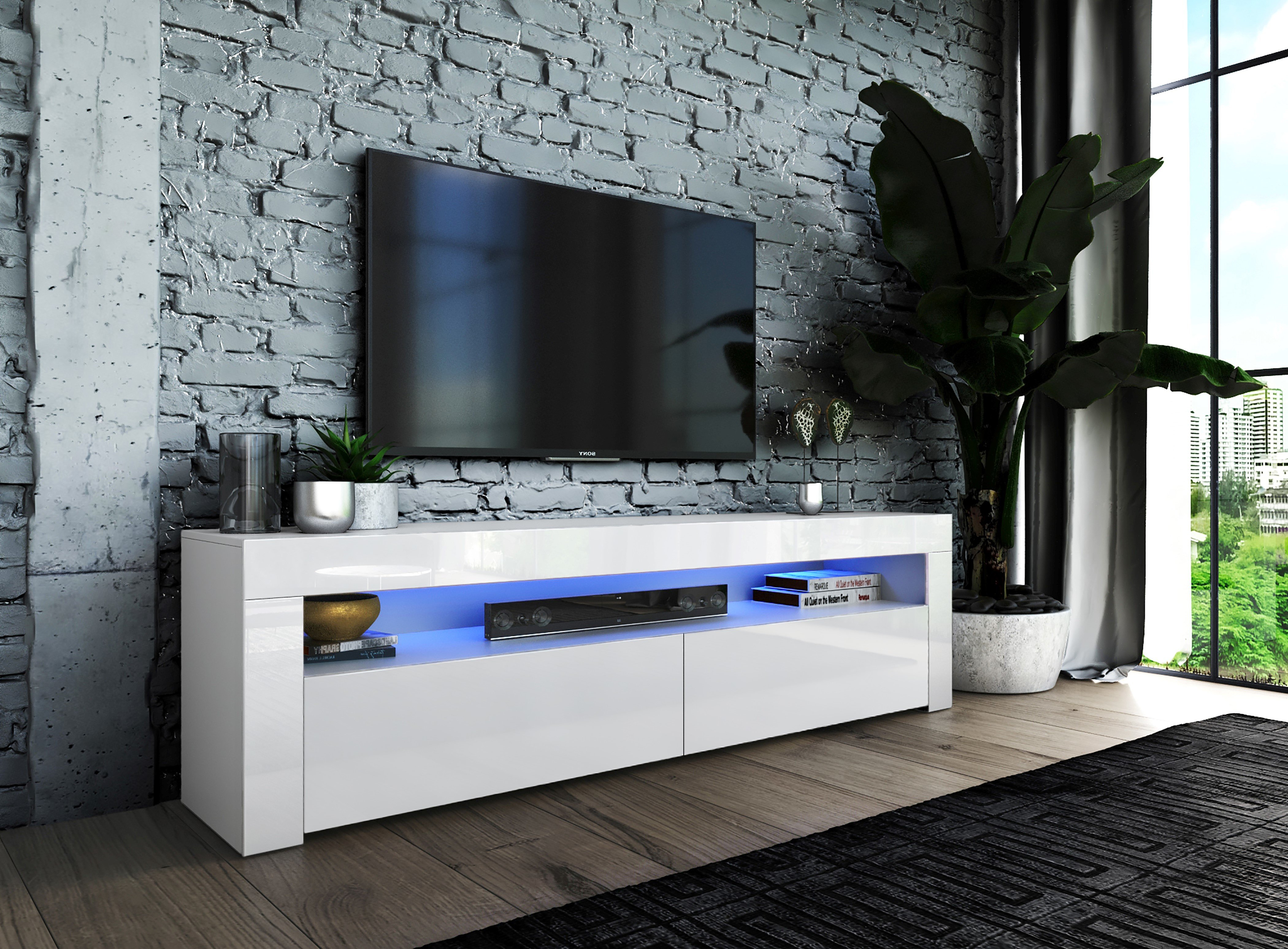 High White Gloss Tv Stands | Wayfair.co (View 22 of 30)