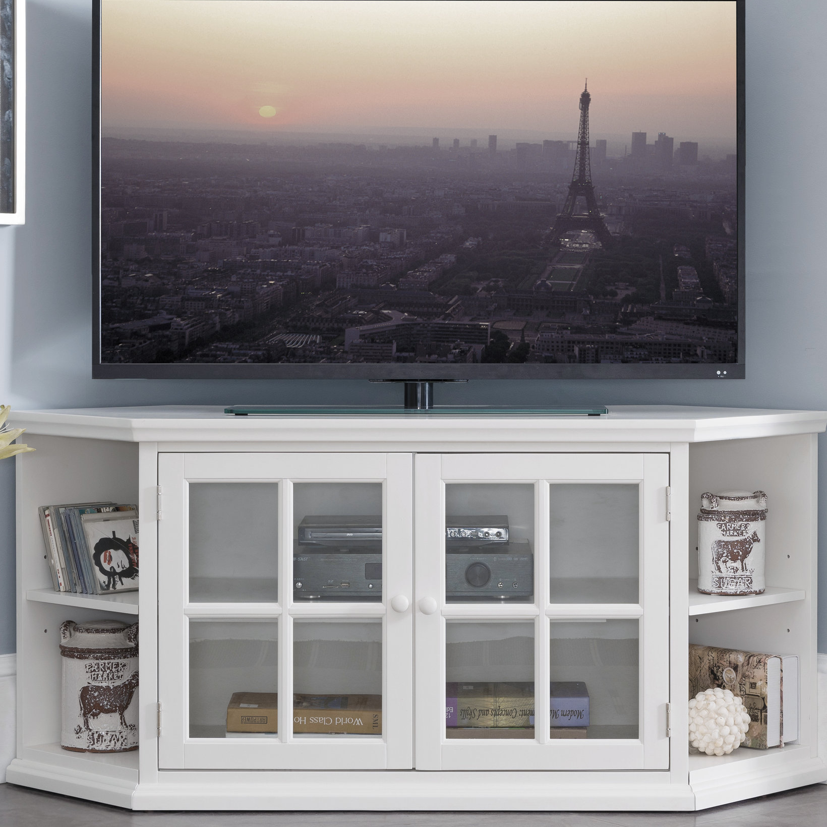 "Highland Dunes Galles Corner Tv Stand For Tvs Up To 65"" & Reviews regarding Caden 63 Inch Tv Stands (Image 12 of 30)"
