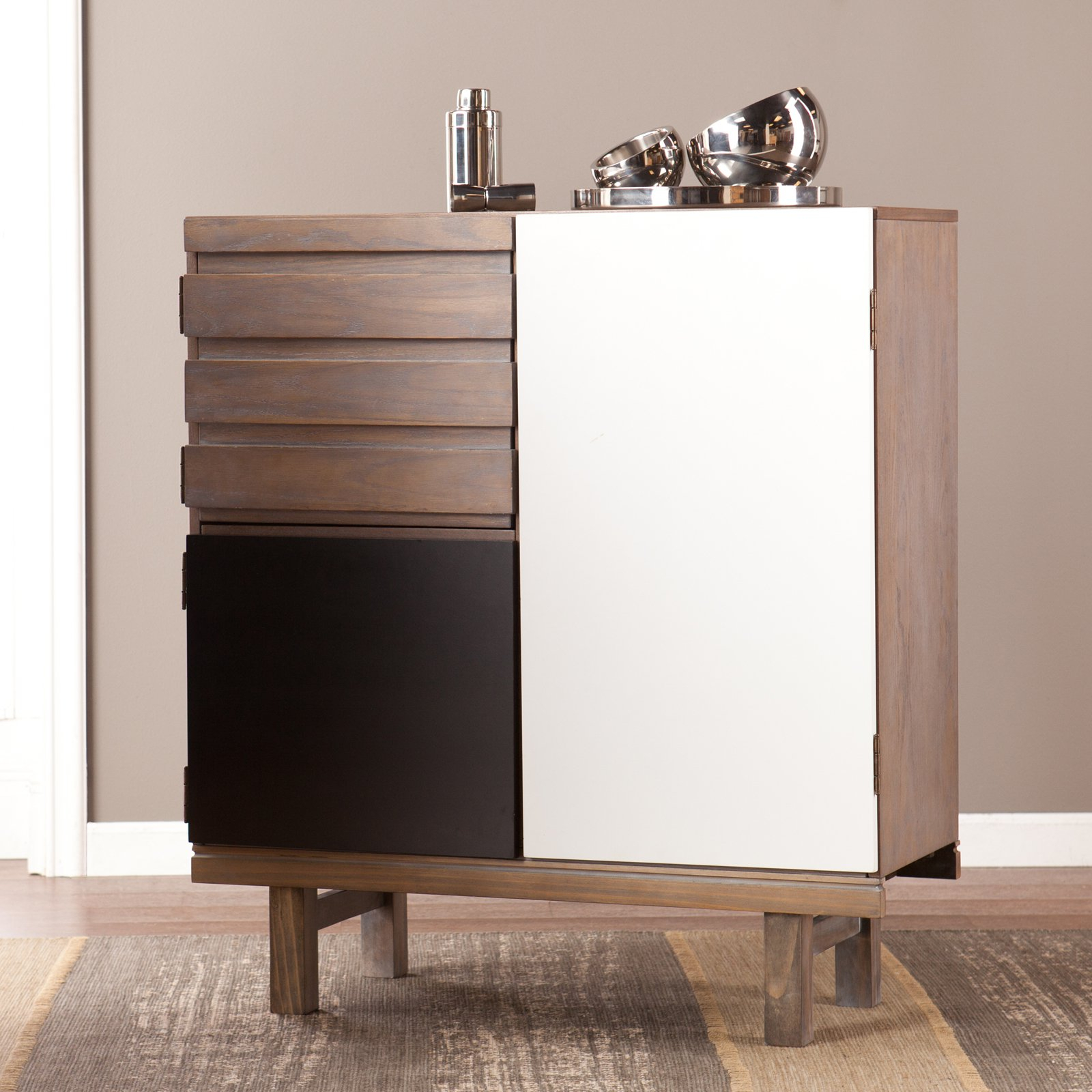 Holly & Martin Chaz Cabinet, Mid Century Modern, Burnt Oak – Walmart Throughout Burnt Oak Metal Sideboards (View 24 of 30)