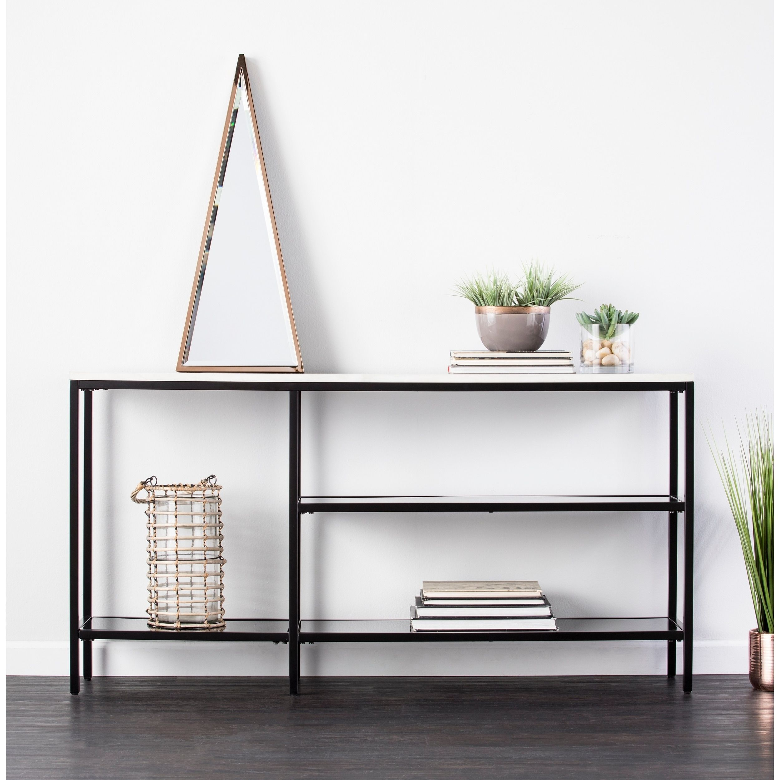 Holly & Martin Corman Black W/ Gray Faux Marble Narrow Console Table pertaining to Mix Agate Metal Frame Console Tables (Image 12 of 30)