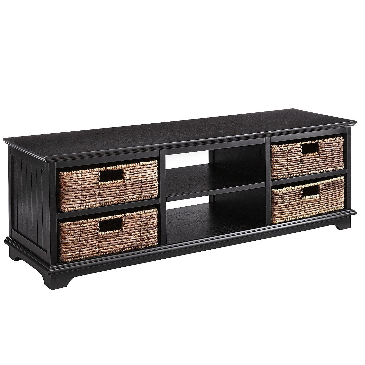 """Holtom Rubbed Black 56"""" Tv Stand With Baskets In 2018 