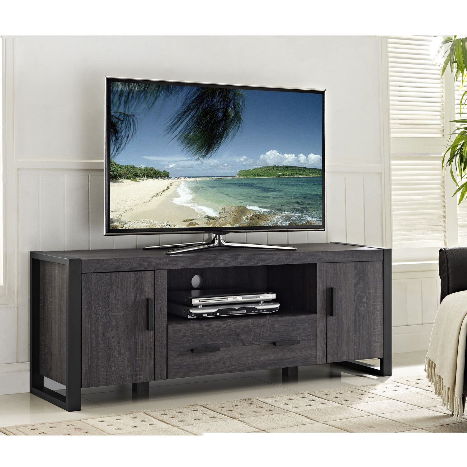 Homely Idea Gray Tv Console 60 Inch Charcoal Grey Tv Stand Bishop With Sinclair Grey 74 Inch Tv Stands (View 14 of 30)
