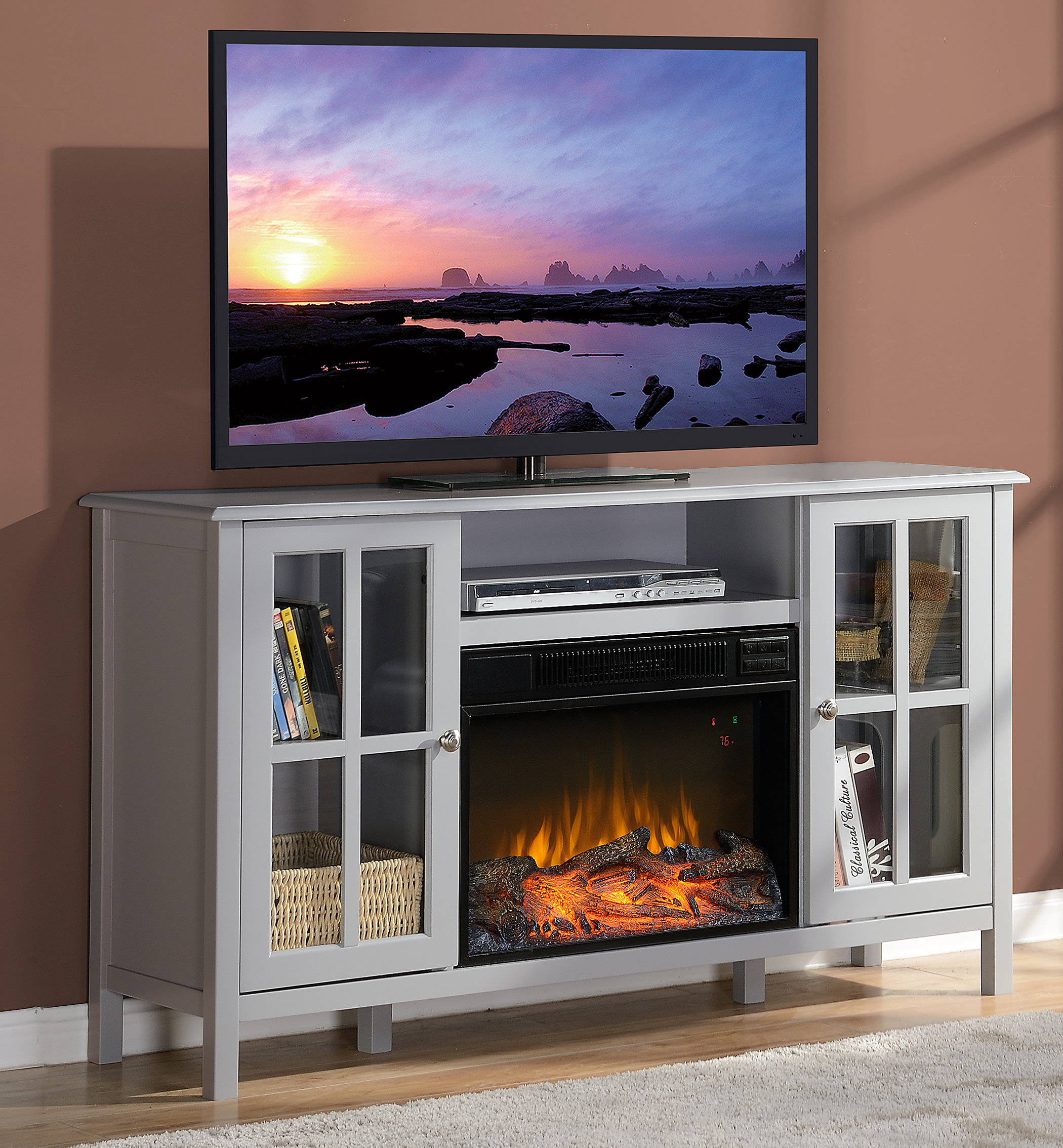 "Homestar Langley Tv Stand For Tvs Up To 60"" With Fireplace & Reviews with Caden 63 Inch Tv Stands (Image 13 of 30)"