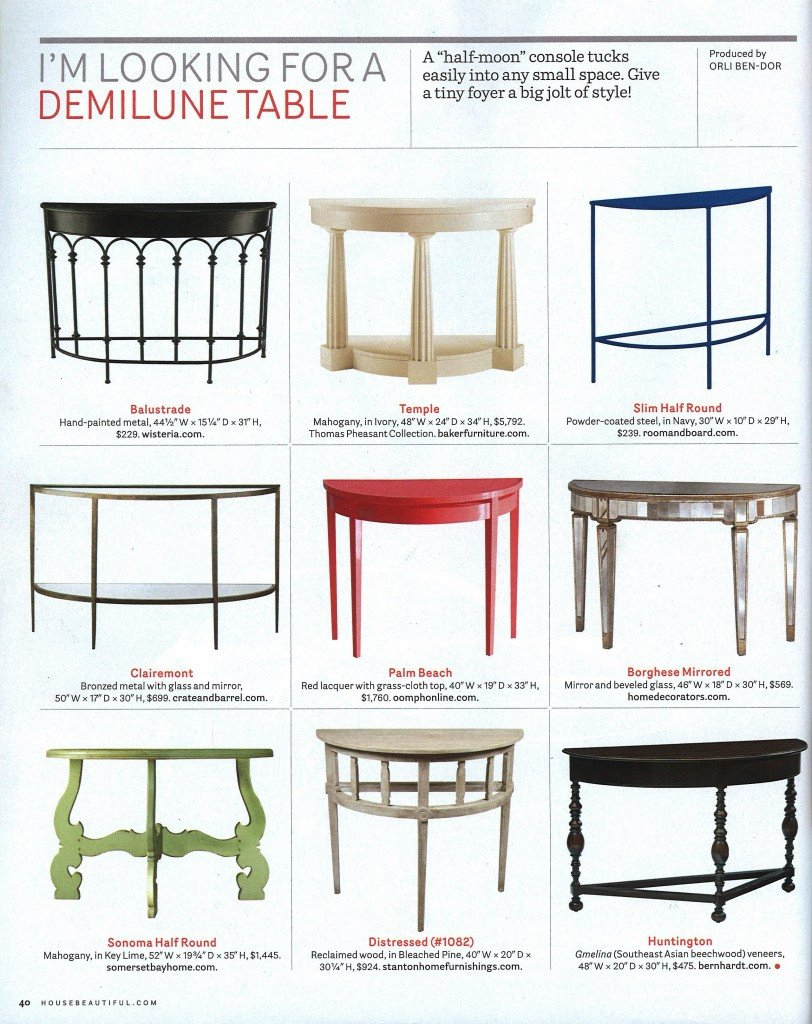 House Beautiful's Demilune Picks within Clairemont Demilune Console Tables (Image 17 of 30)