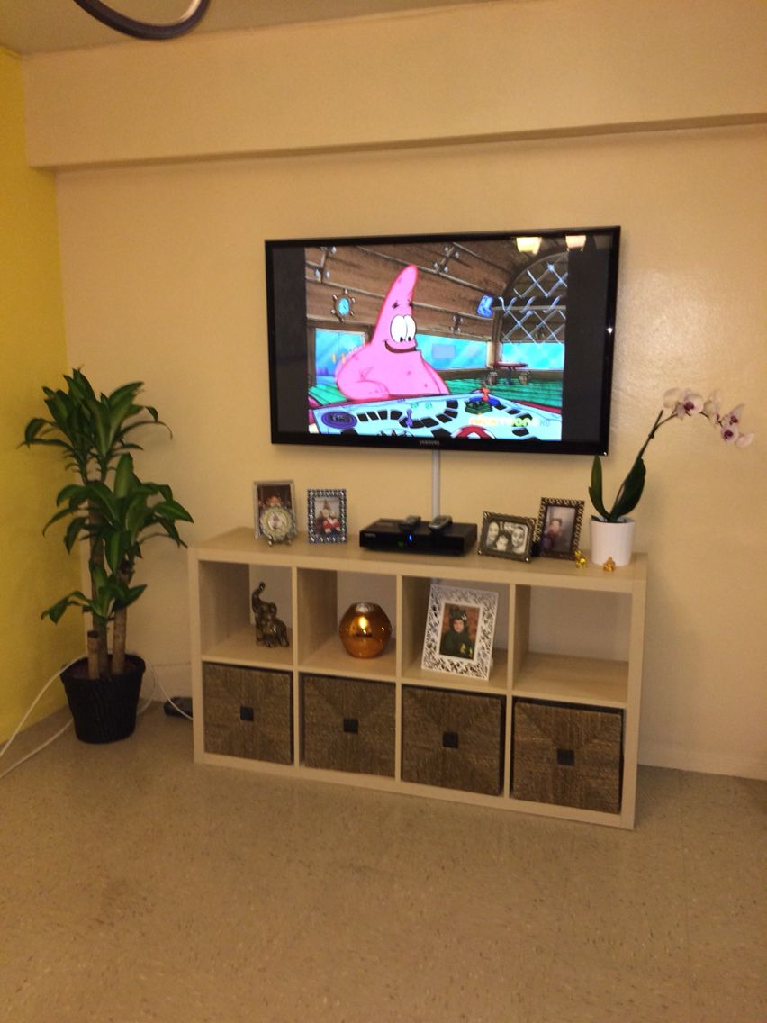 Ikea Kallax, Made As A Tv Stand | Ikea Kallax | Ikea, Ikea Tv For Raven Grey Tv Stands (View 14 of 30)