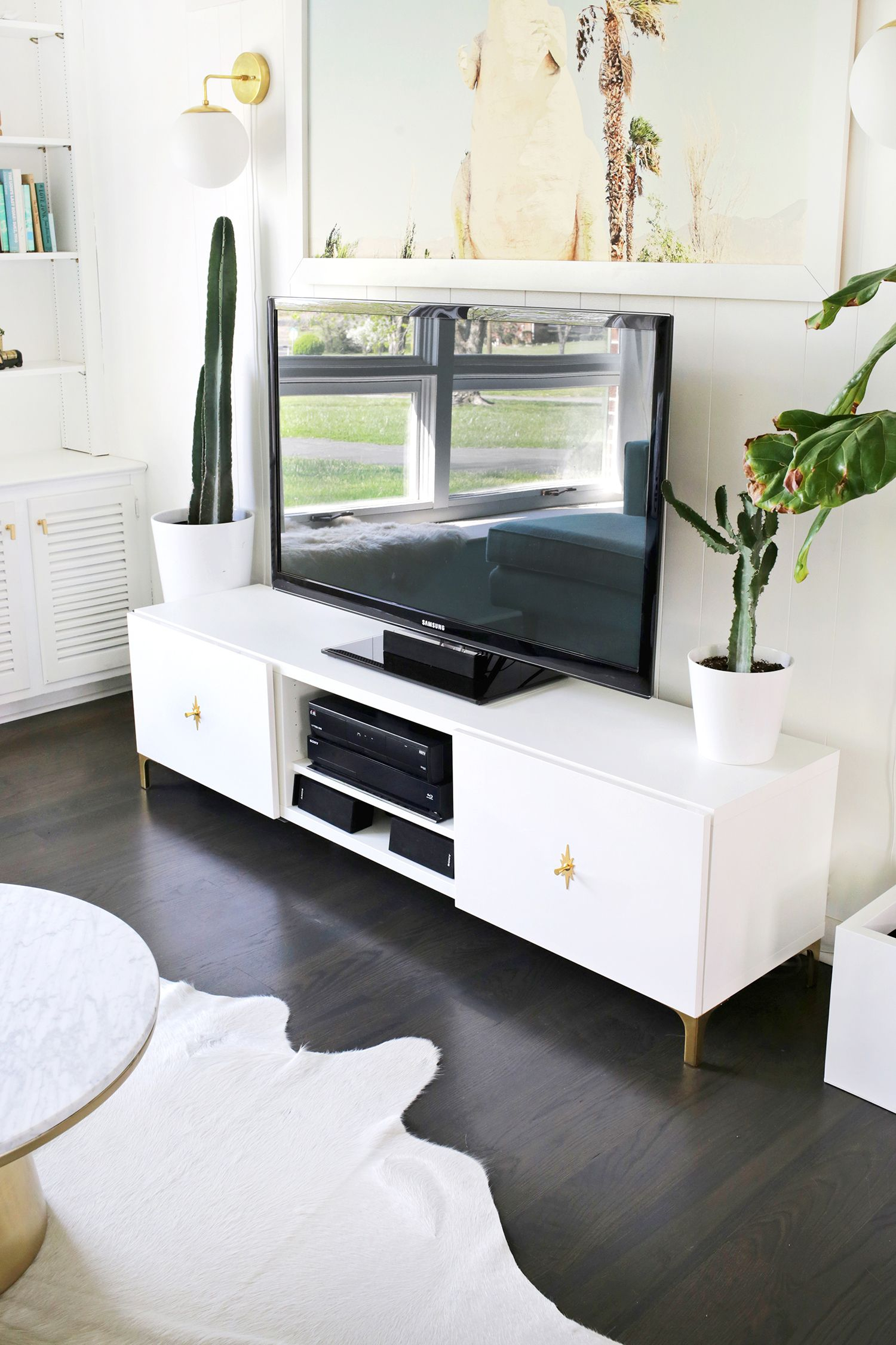 Ikea Restyle: Mid Century Tv Stand (A Beautiful Mess) | Ideas For My within Century White 60 Inch Tv Stands (Image 12 of 30)
