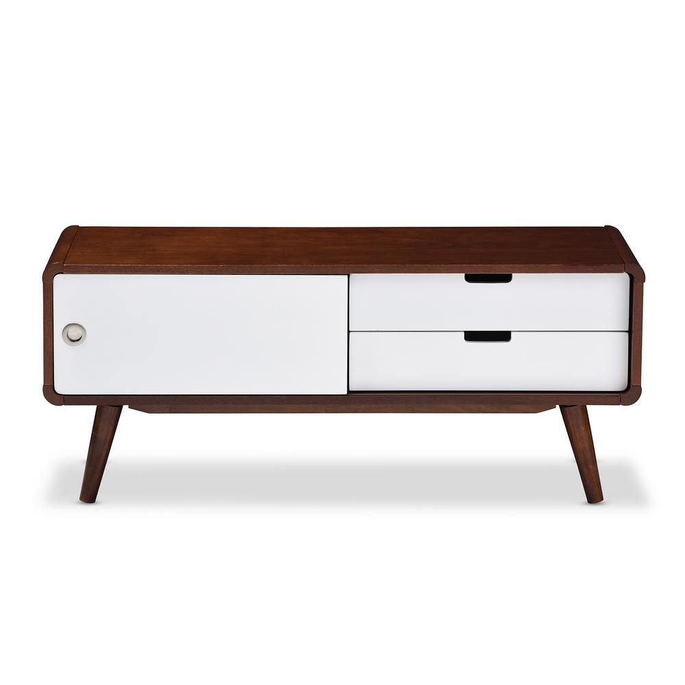 Ikea Tv Stand Baxton Studio White Cabinet Mid Century Medium Brown Pertaining To Dixon White 65 Inch Tv Stands (View 14 of 30)