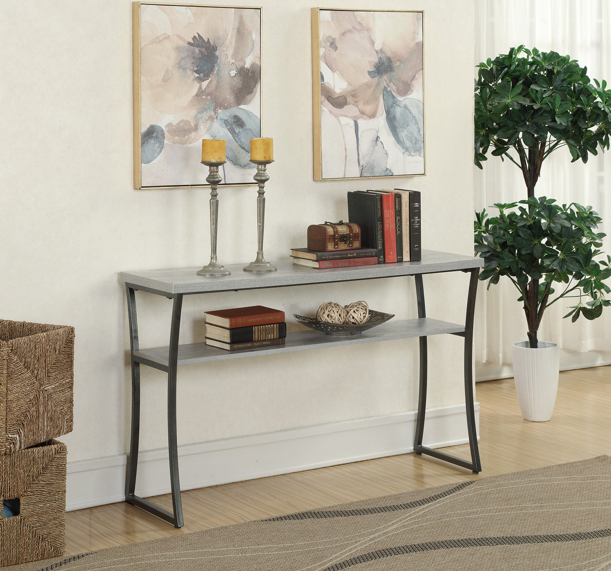 Industrial Console Tables You'll Love | Wayfair For Parsons Black Marble Top & Elm Base 48x16 Console Tables (View 21 of 30)