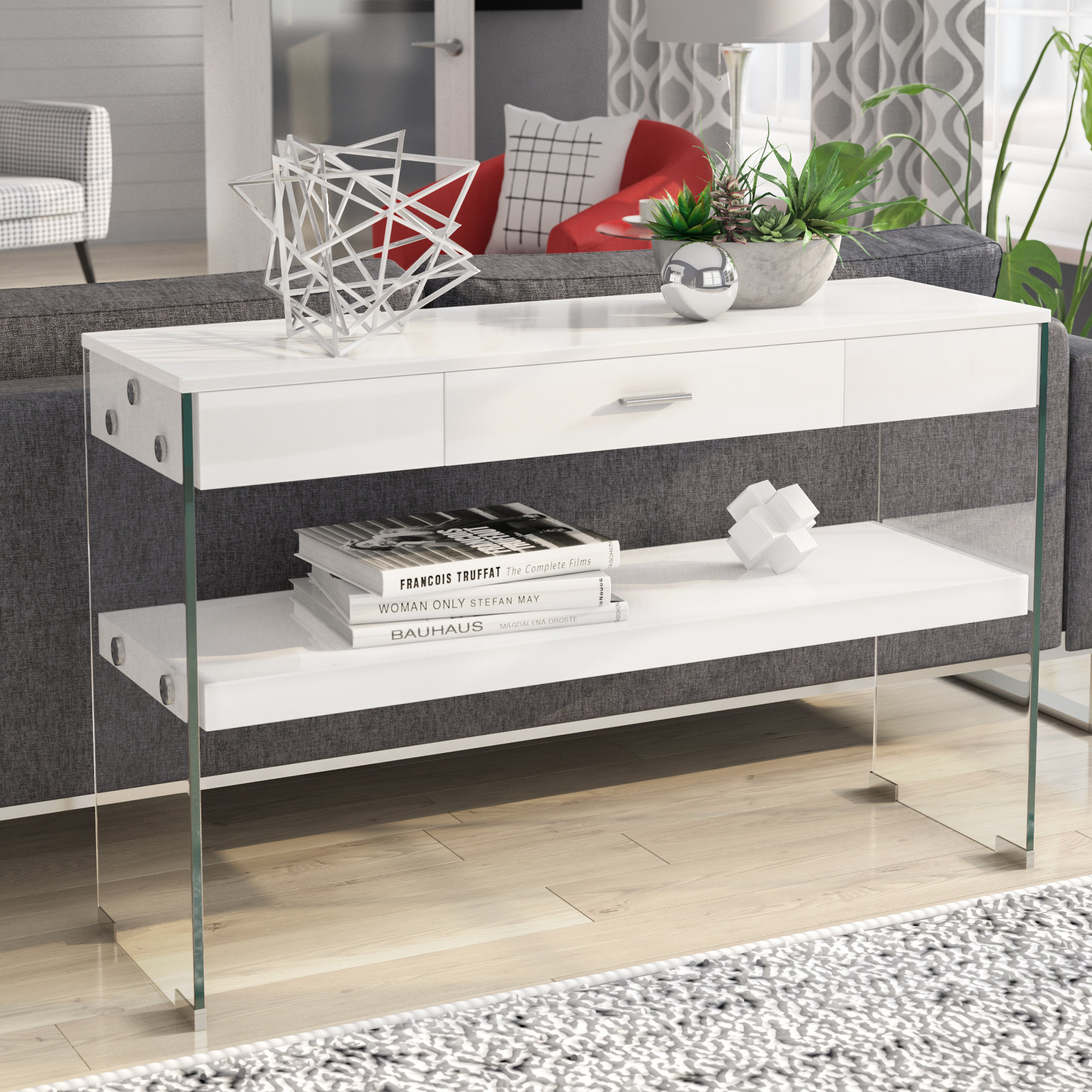 Industrial Console Tables You'll Love | Wayfair For Parsons Clear Glass Top & Elm Base 48x16 Console Tables (View 10 of 30)