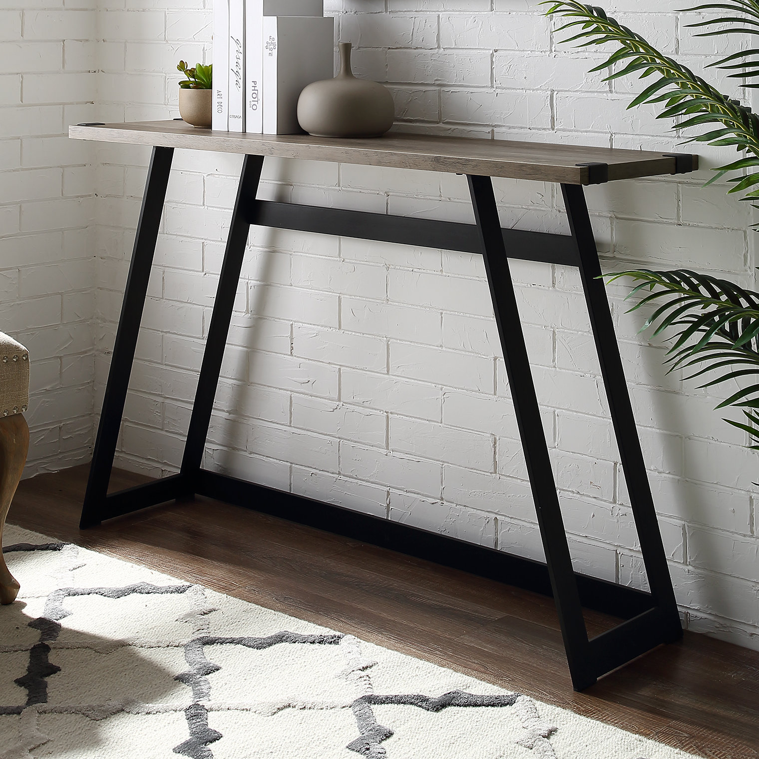 Industrial Console Tables You'll Love | Wayfair Regarding Parsons Walnut Top & Dark Steel Base 48x16 Console Tables (View 12 of 30)