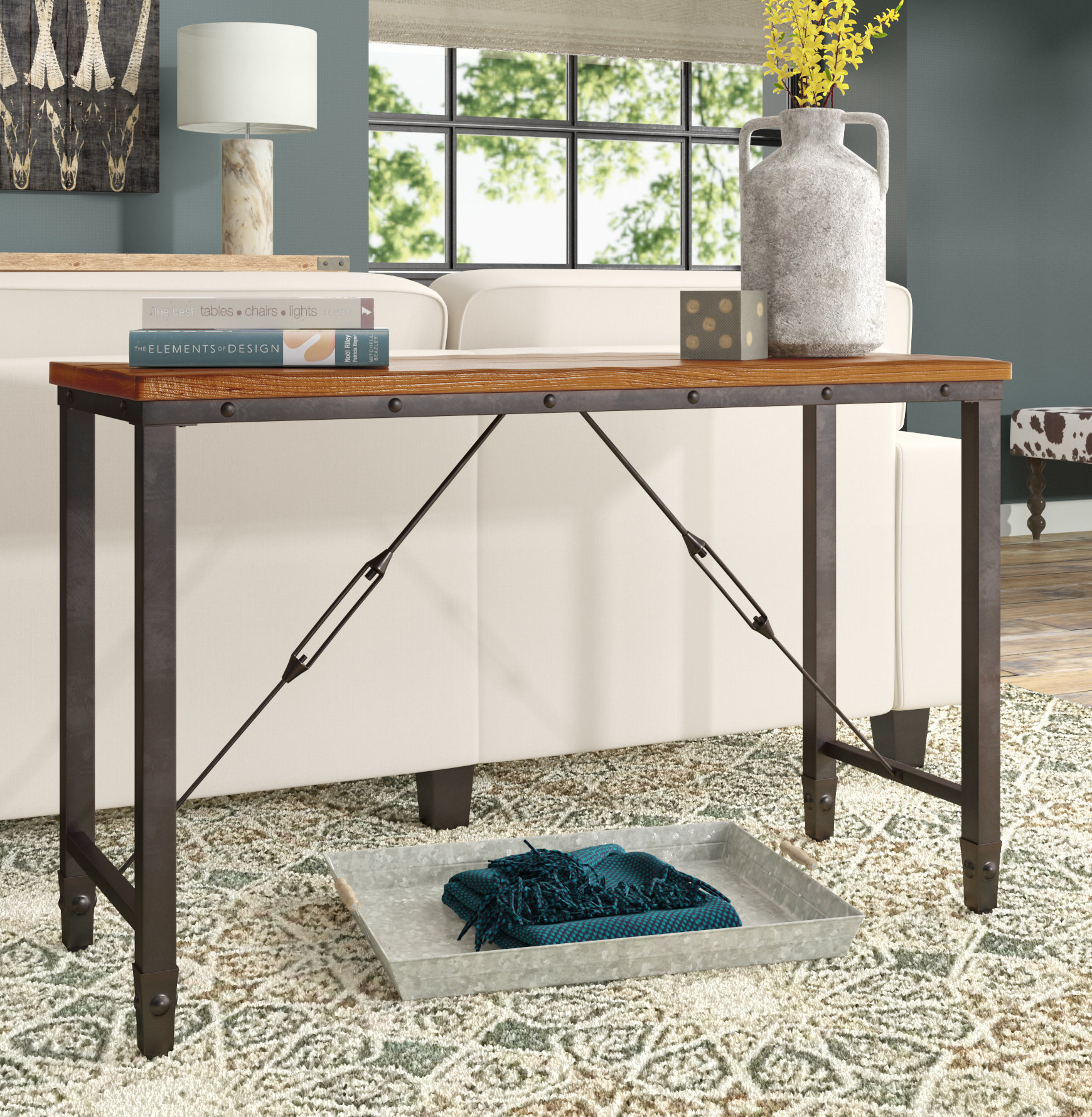 Industrial Console Tables You'll Love | Wayfair With Parsons Black Marble Top & Elm Base 48x16 Console Tables (View 10 of 30)