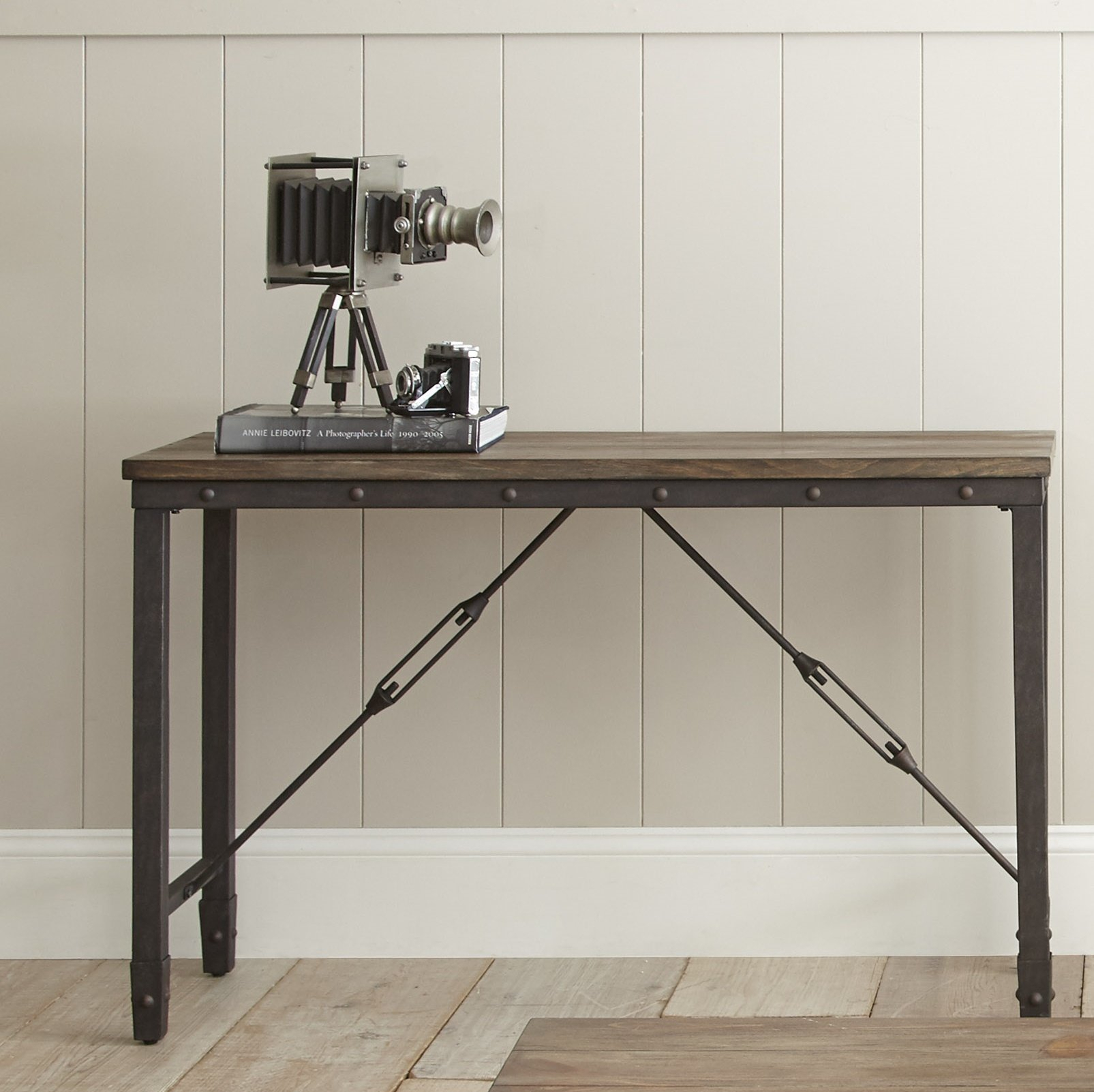 Industrial Console Tables You'll Love   Wayfair With Parsons Grey Solid Surface Top & Dark Steel Base 48x16 Console Tables (View 7 of 30)