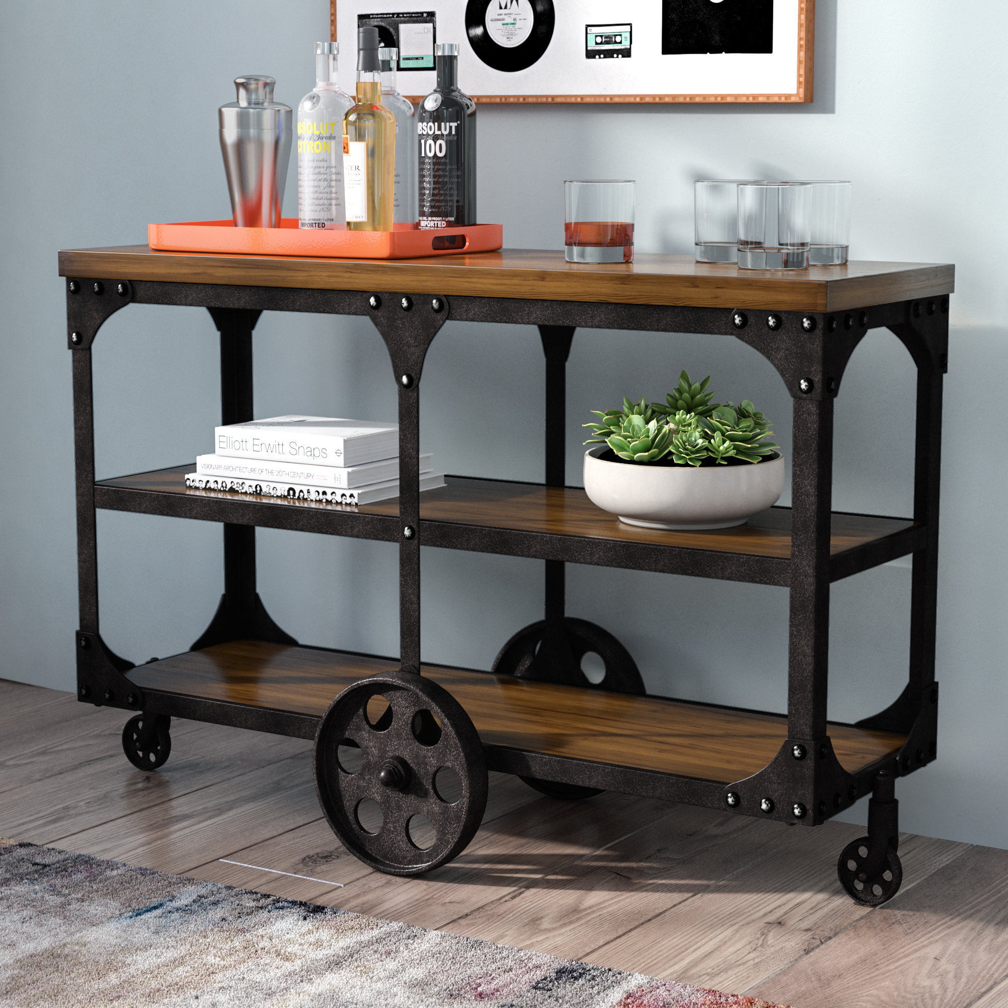 Industrial Console Tables You'll Love   Wayfair With Regard To Parsons Walnut Top & Dark Steel Base 48x16 Console Tables (View 20 of 30)