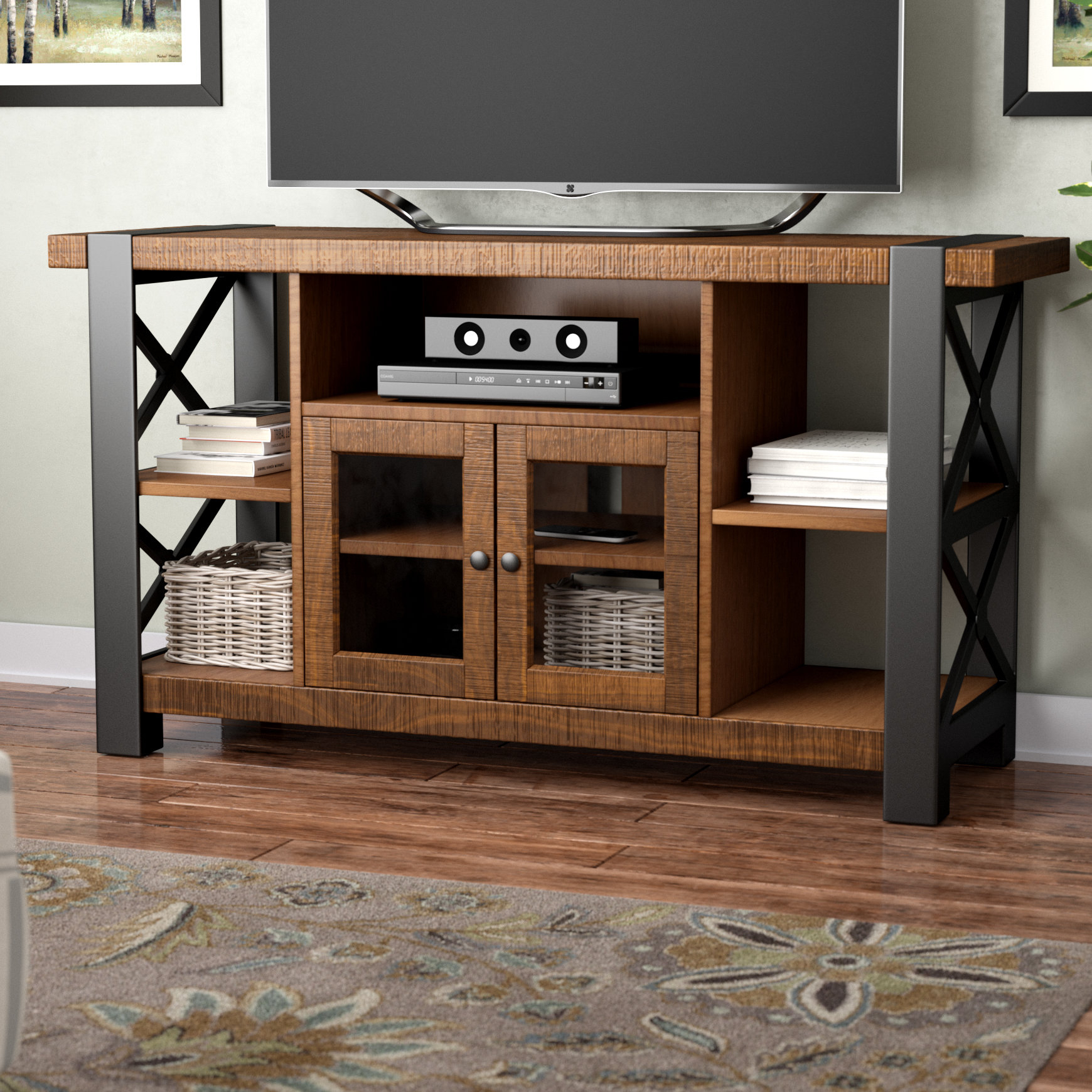 Industrial Tv Stands You'll Love | Wayfair in Walton Grey 72 Inch Tv Stands (Image 12 of 30)