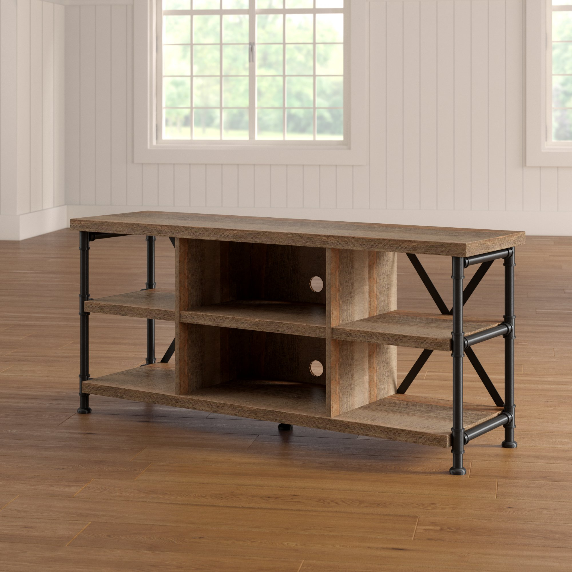 Industrial Tv Stands You'll Love | Wayfair With Regard To Gunmetal Perforated Brass Media Console Tables (View 20 of 30)