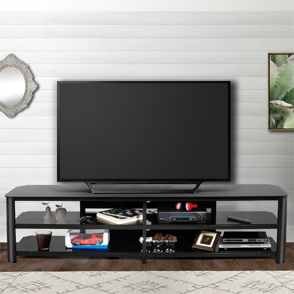 Innovex Oxford Series 82 Inch Flat Screen Tv Stand Black Glass Tpt83G29 Throughout Oxford 70 Inch Tv Stands (View 21 of 30)