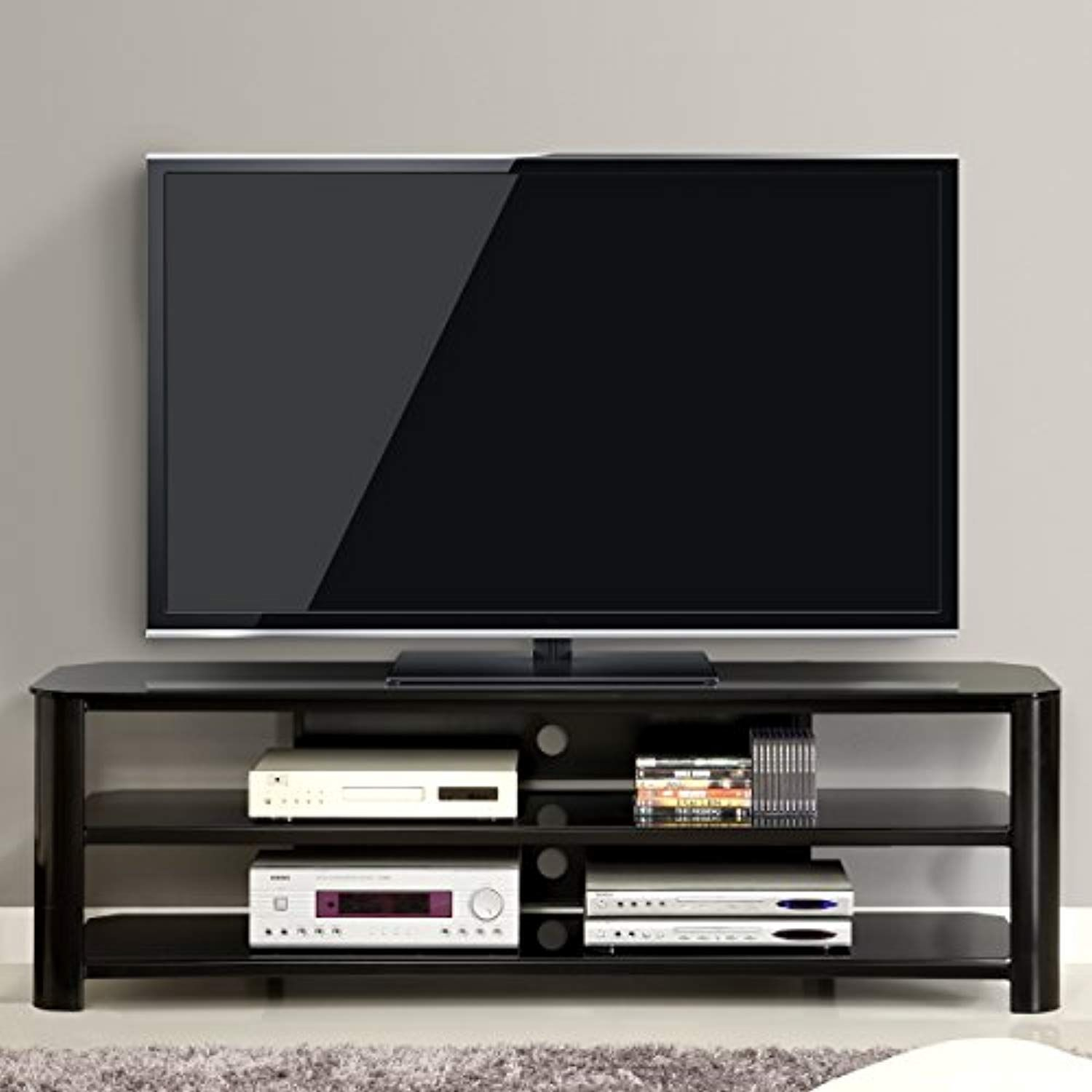 Innovex Tpt65G29 Oxford Fold N Snap 65€ Glass Tv Stand For Tvs Up with Oxford 70 Inch Tv Stands (Image 16 of 30)