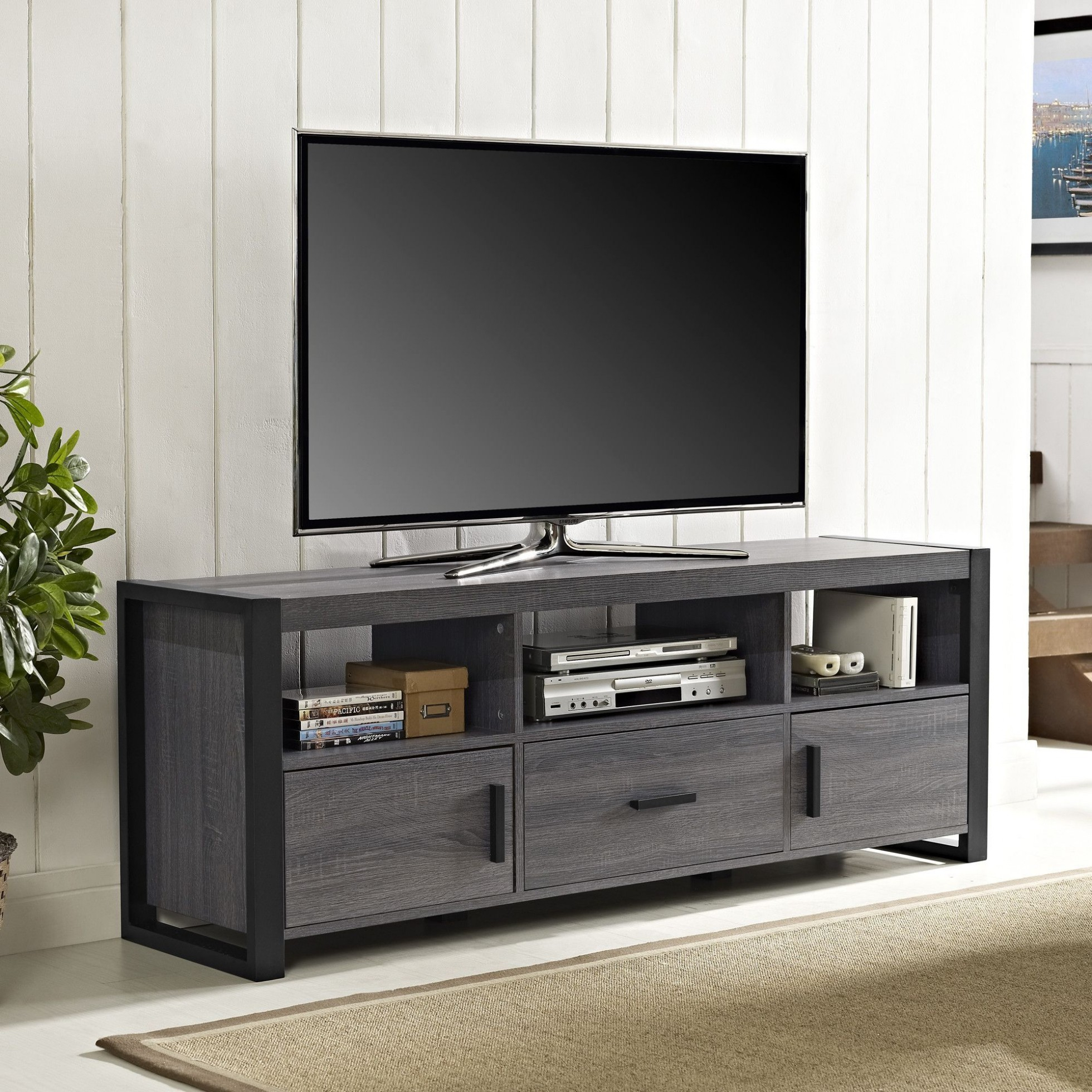Inspirational 74 Inch Tv Stand Sinclair Grey : Foothillfolk Designs For Sinclair Grey 74 Inch Tv Stands (View 15 of 30)