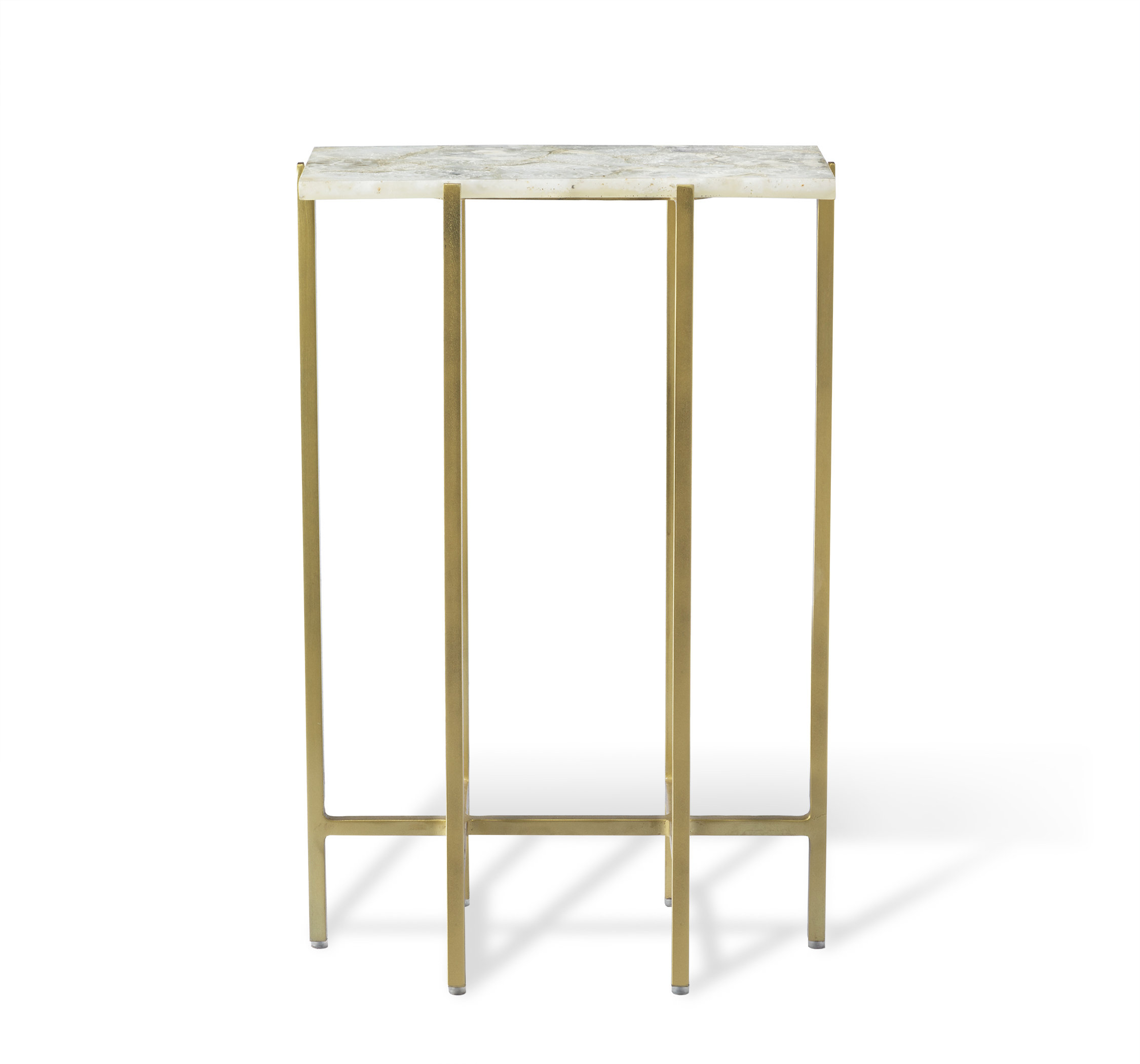Interlude Leonie Rectangular Agate End Table | Wayfair with Mix Agate Metal Frame Console Tables (Image 17 of 30)