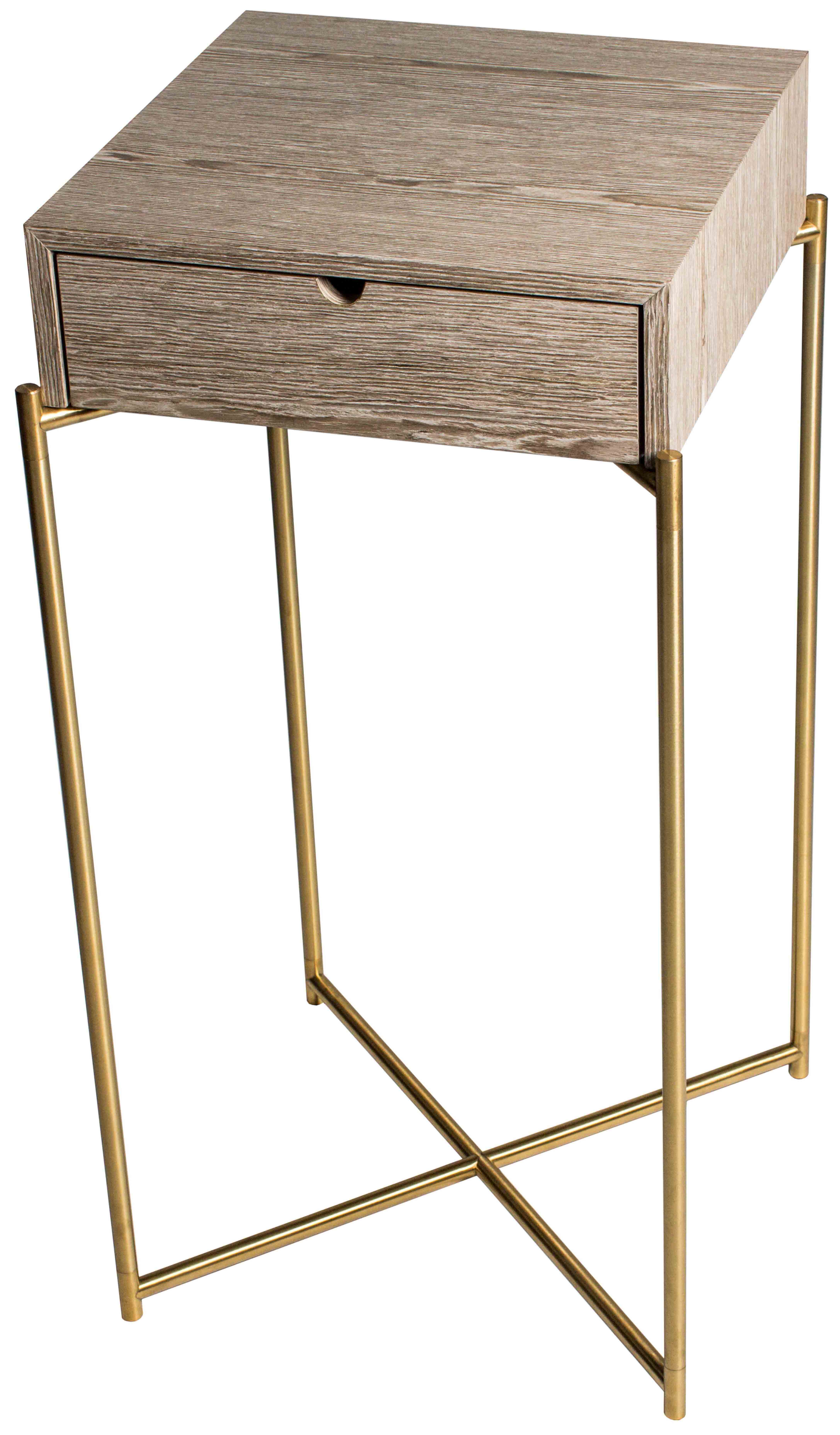 Iris Square Plant Stand Weathered Oak Drawer Top With Brass Frame intended for Oak & Brass Stacking Media Console Tables (Image 16 of 30)