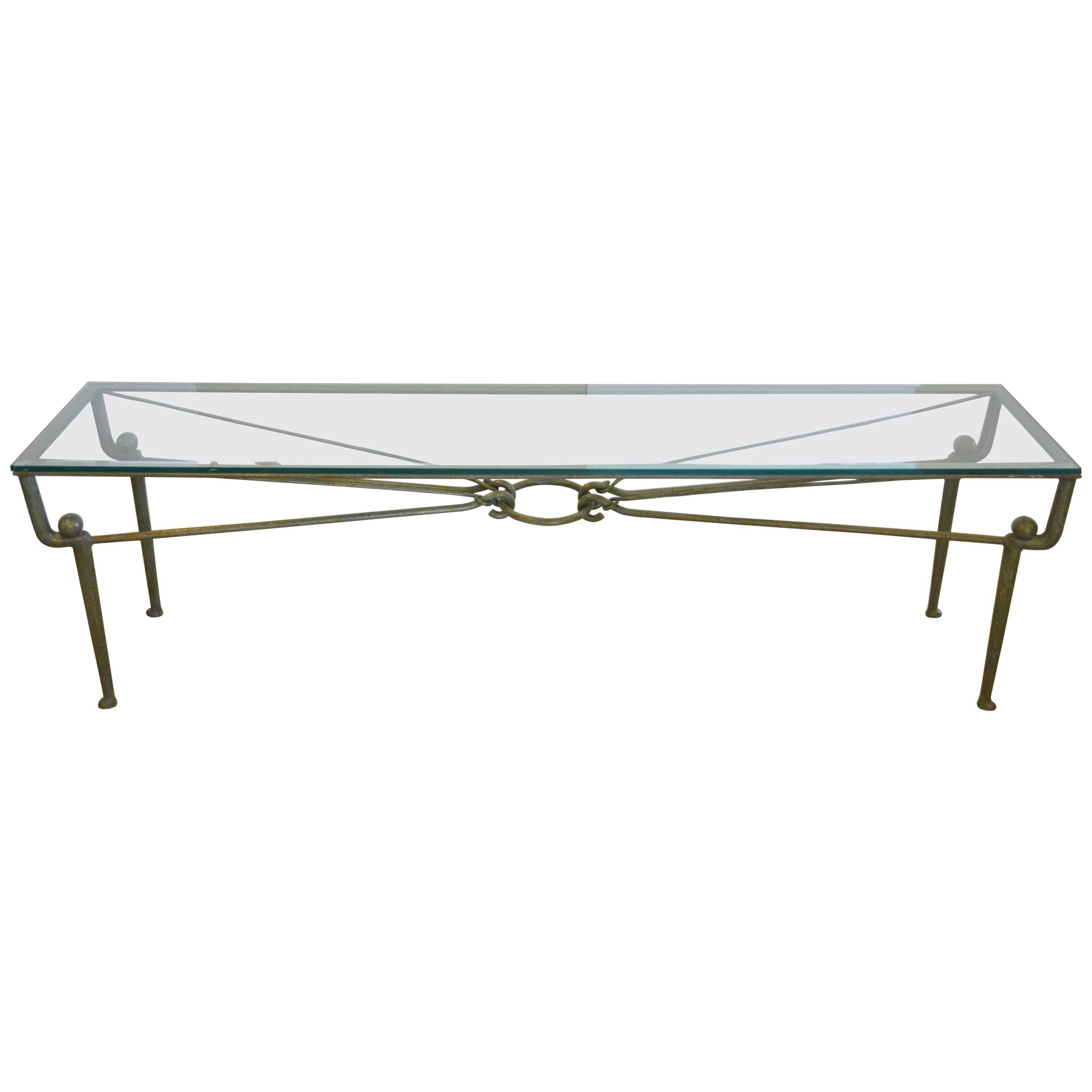 Iron Console Table With Glass Top And Copper Green Patina At 1stdibs With Mix Patina Metal Frame Console Tables (View 13 of 30)