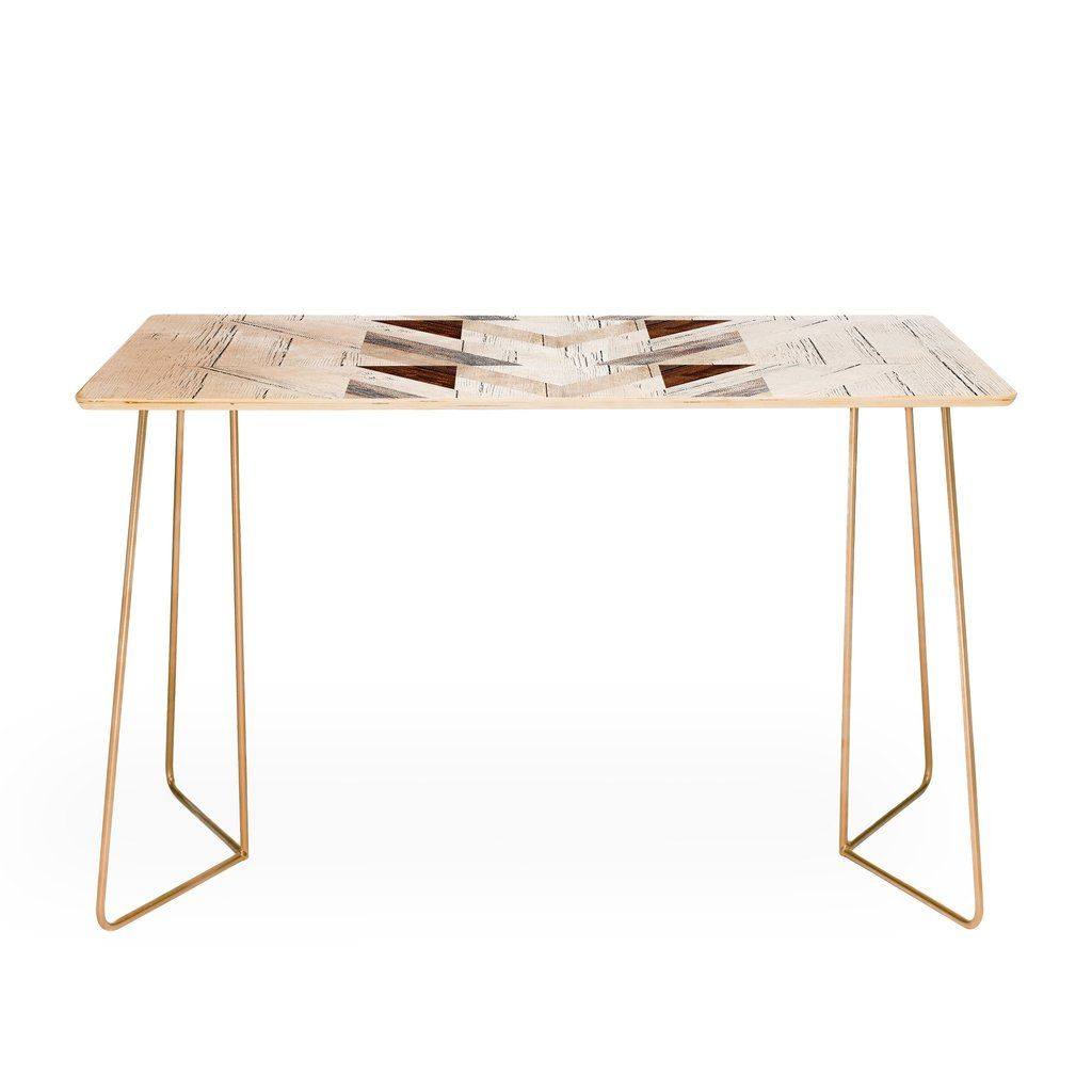 Iveta Abolina Geo Wood 4 Desk | Geo, Buy Desk And Desks In Parsons White Marble Top & Elm Base 48x16 Console Tables (View 10 of 30)