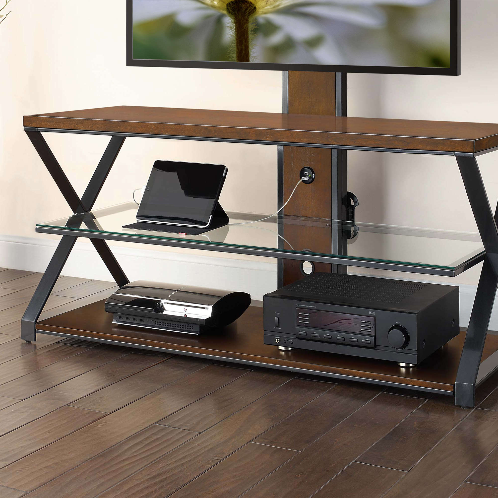 "Jaxon 3 In 1 Cognac Tv Stand For Tvs Up To 70"" – Walmart Intended For Jaxon 71 Inch Tv Stands (View 4 of 30)"