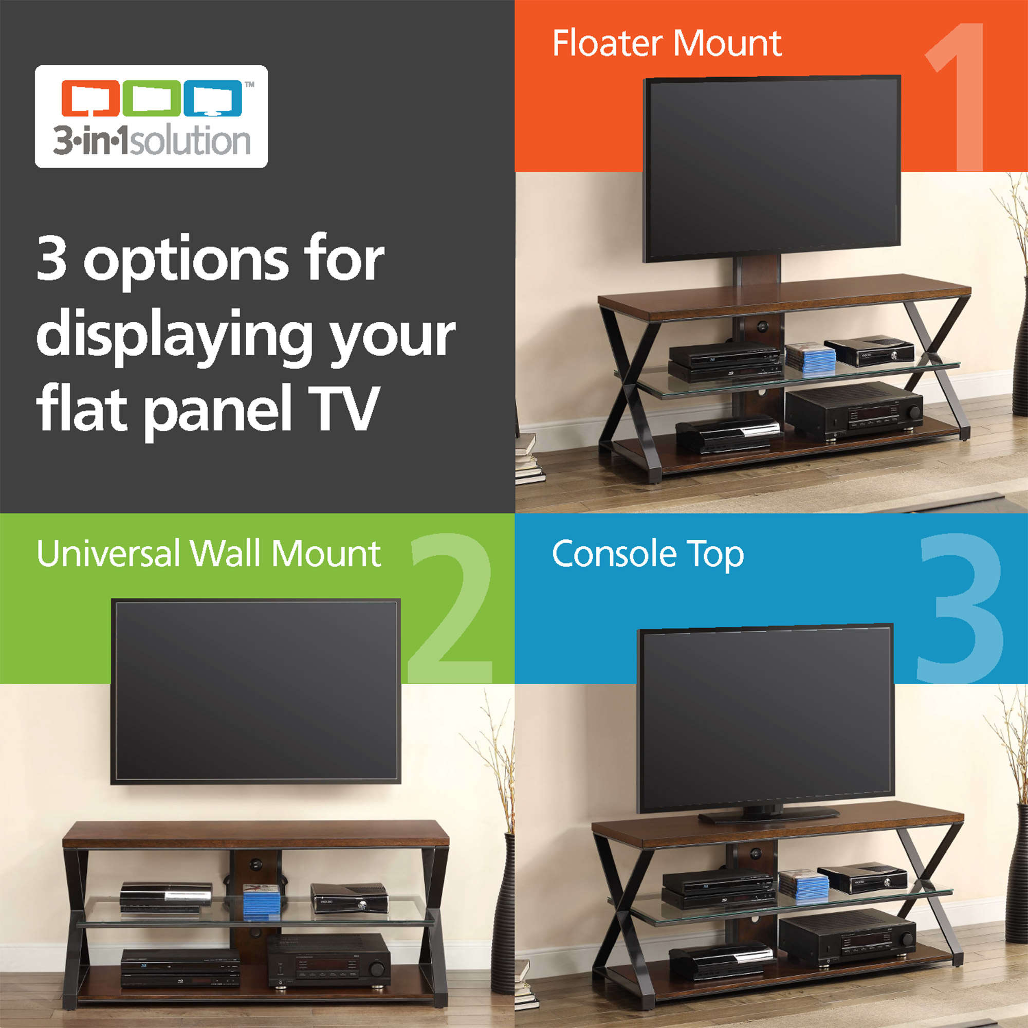 """Jaxon 3 In 1 Cognac Tv Stand For Tvs Up To 70"""" – Walmart Intended For Jaxon 76 Inch Plasma Console Tables (Image 9 of 30)"""