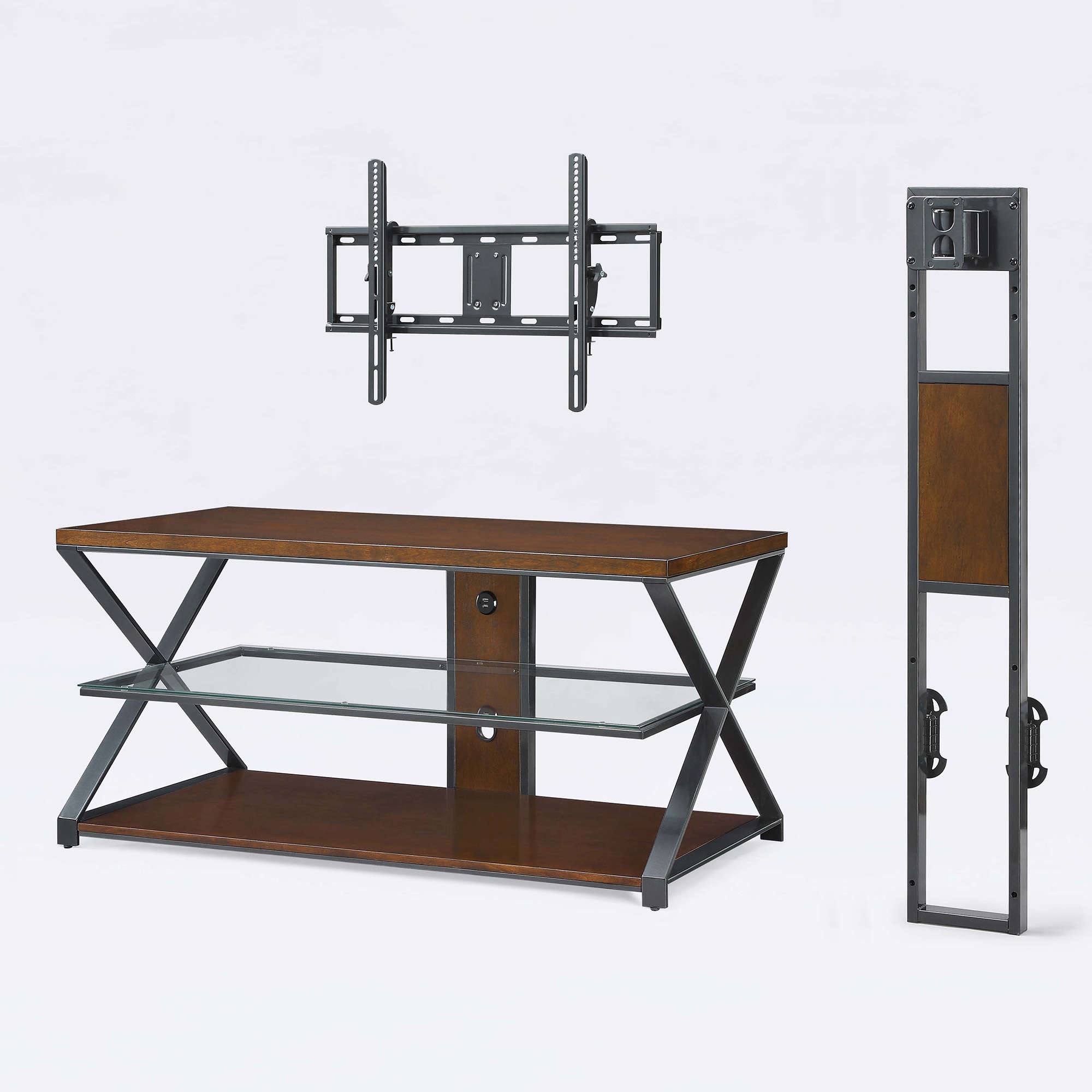 """Jaxon 3 In 1 Cognac Tv Stand For Tvs Up To 70"""" – Walmart Throughout Jaxon 76 Inch Plasma Console Tables (Image 11 of 30)"""