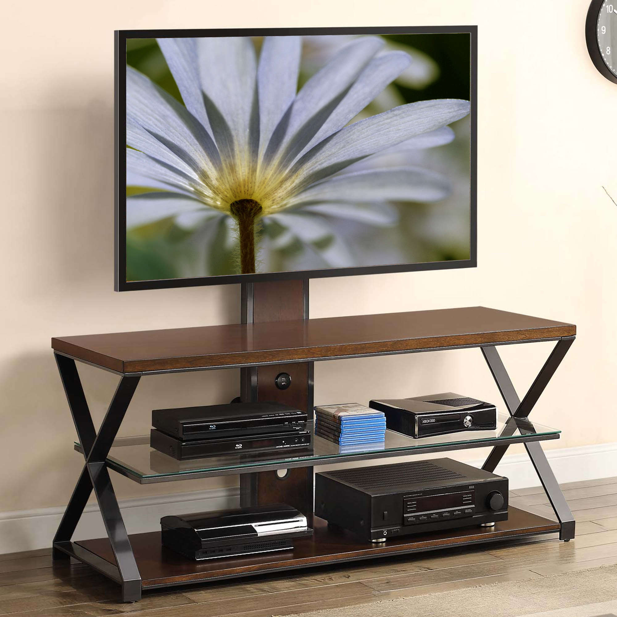 """Jaxon 3 In 1 Cognac Tv Stand For Tvs Up To 70"""" – Walmart With Jaxon 76 Inch Plasma Console Tables (Image 13 of 30)"""