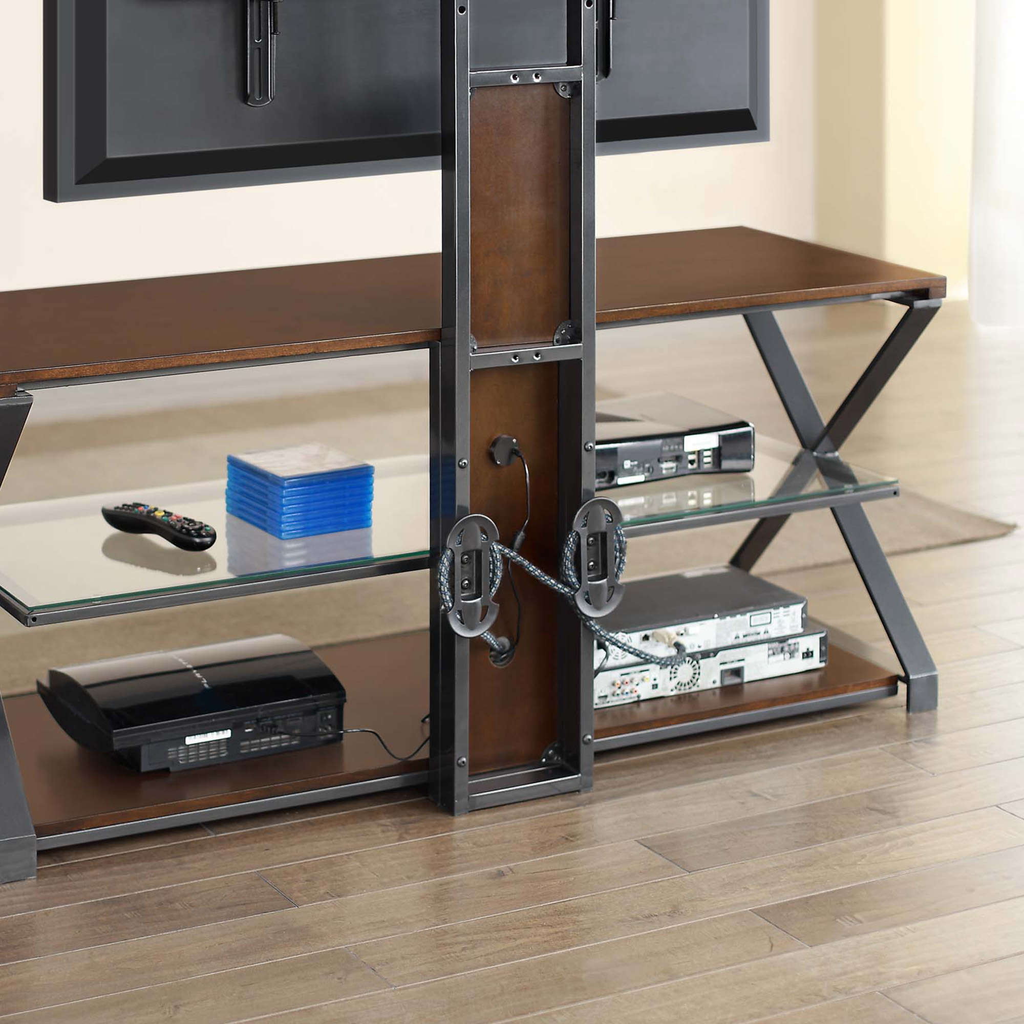 """Jaxon 3 In 1 Cognac Tv Stand For Tvs Up To 70"""" – Walmart With Regard To Jaxon 76 Inch Plasma Console Tables (Image 14 of 30)"""