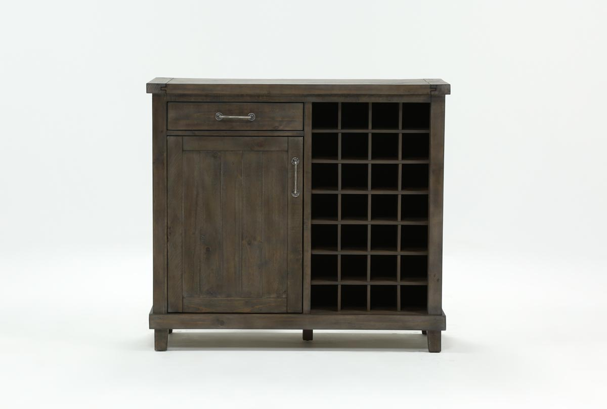 Jaxon Grey Wine Cabinet | Living Spaces inside Jaxon 76 Inch Plasma Console Tables (Image 17 of 30)