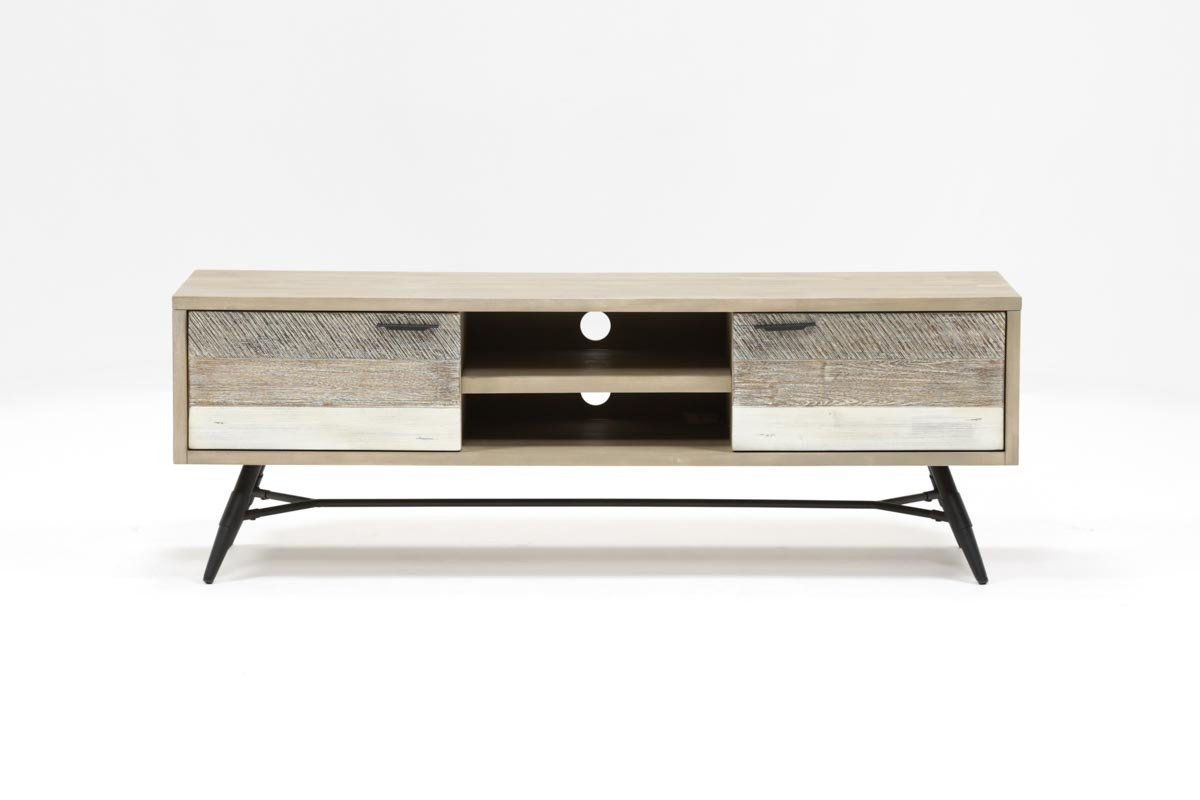 Kai 63 Inch Tv Stand | Living Spaces in Sinclair Grey 64 Inch Tv Stands (Image 9 of 30)