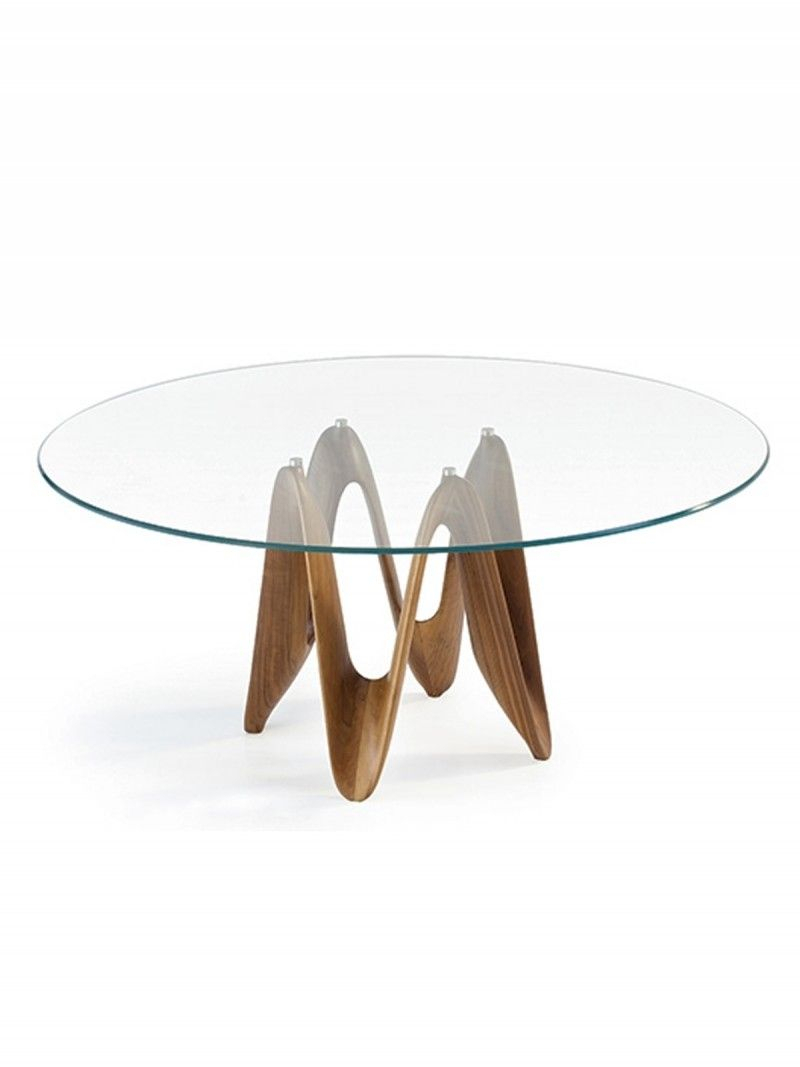Lambda Glass Dining Table – Transparent Glass Top With Solid Wood Inside Elke Glass Console Tables With Polished Aluminum Base (View 8 of 30)