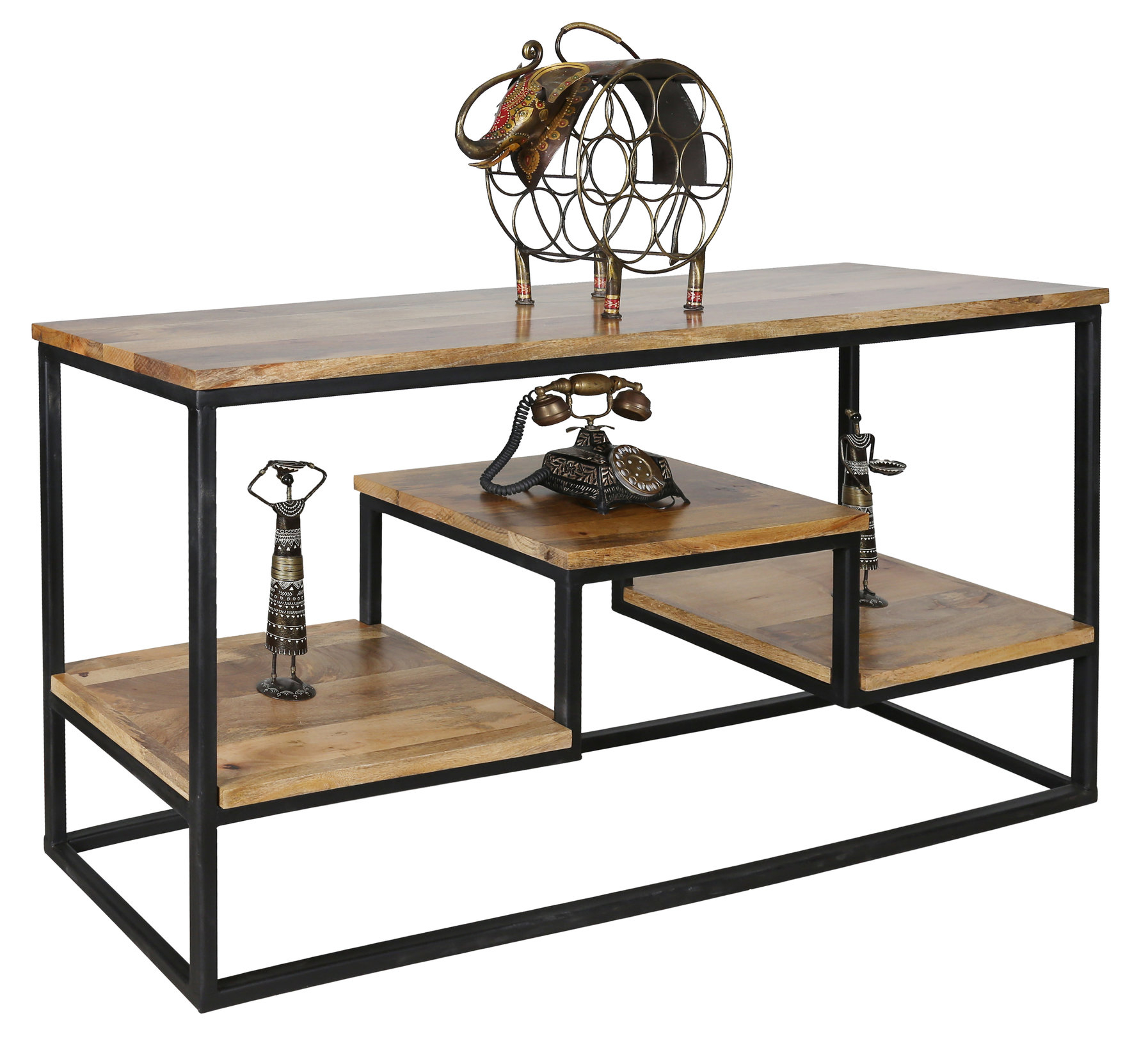 Large Industrial Style Light Mango Wood Console Table With Metal Frame With Regard To Frame Console Tables (View 11 of 30)