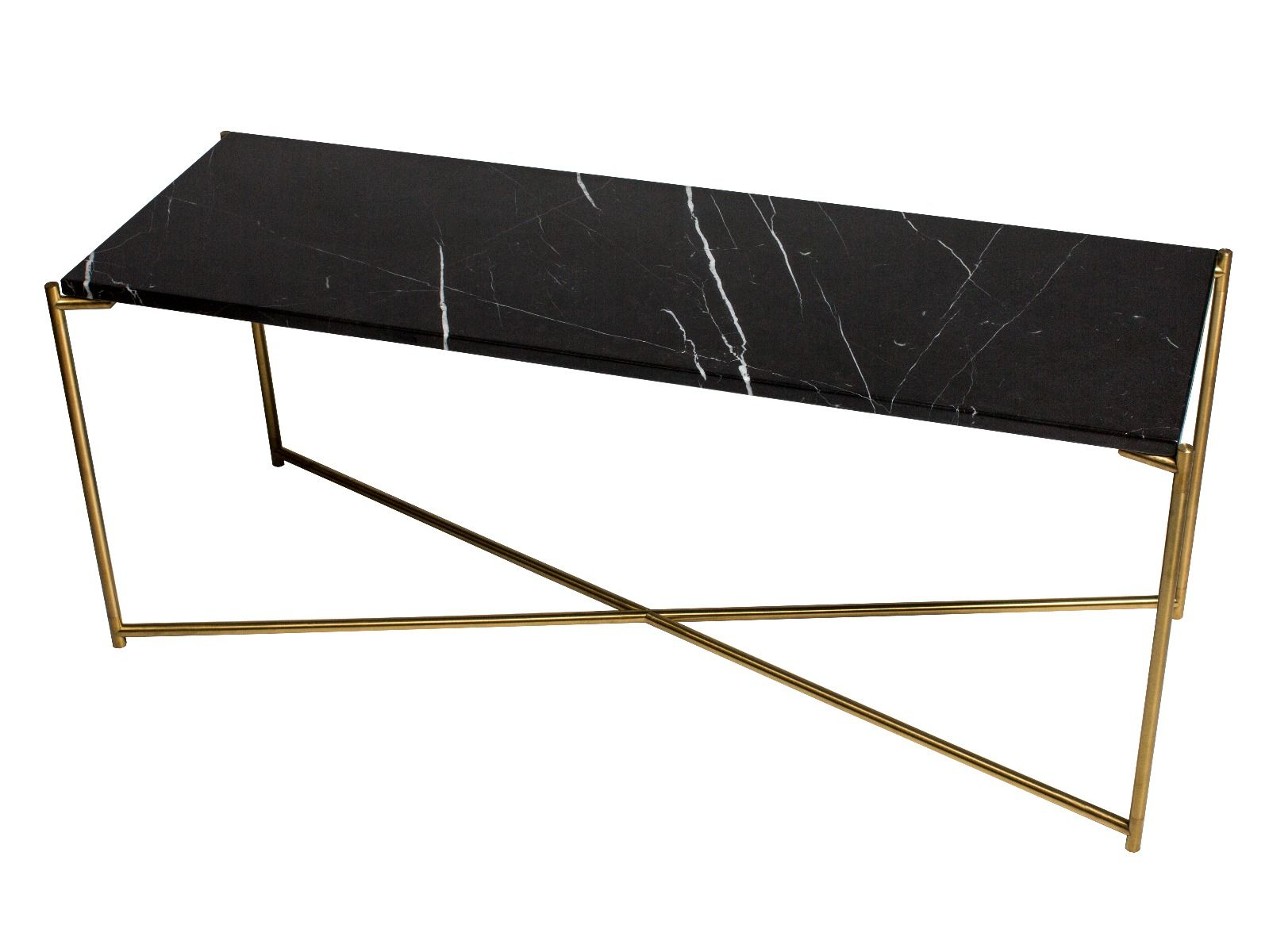 Large Low Console Table Black Marble With Brass Frame | Collection Regarding Frame Console Tables (View 7 of 30)