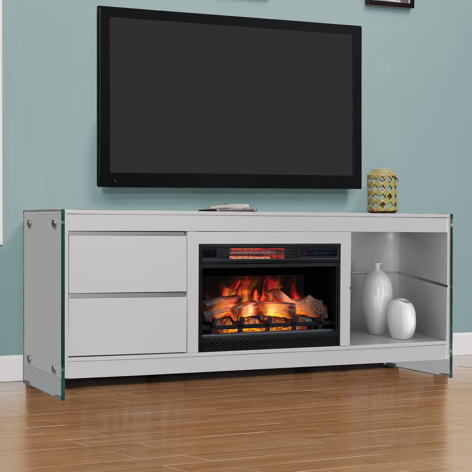 "Latitude Run Tukwila 72"" Tv Stand With Electric Fireplace 