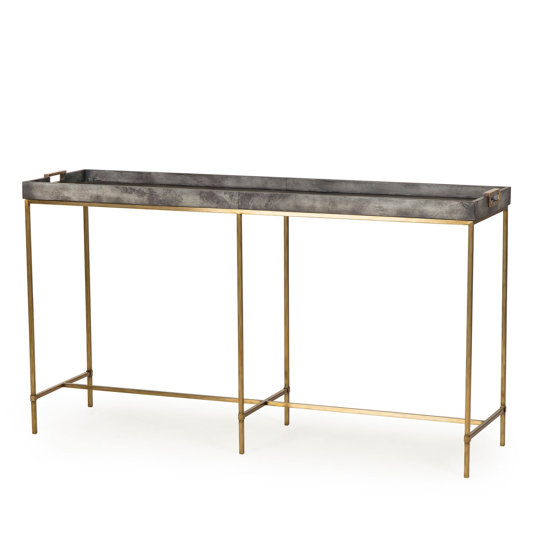 Levi Tray Console Table – Grey Within Grey Shagreen Media Console Tables (View 4 of 30)