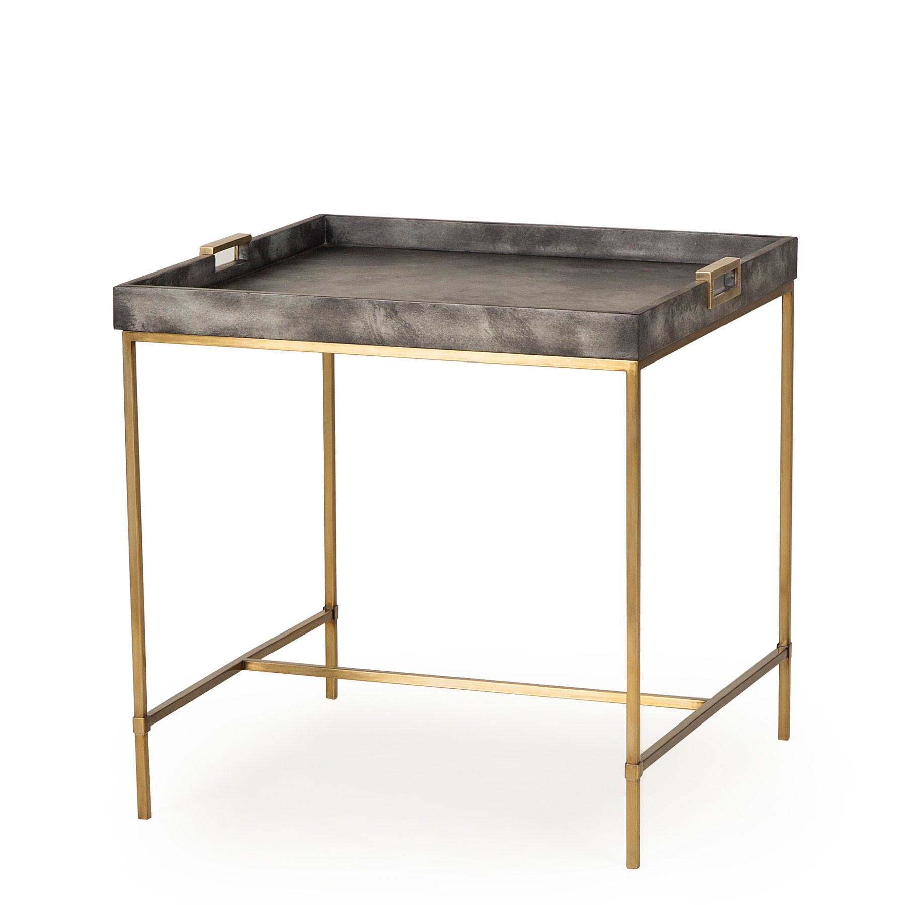 Levi Tray Side Table – Grey With Grey Shagreen Media Console Tables (View 12 of 30)