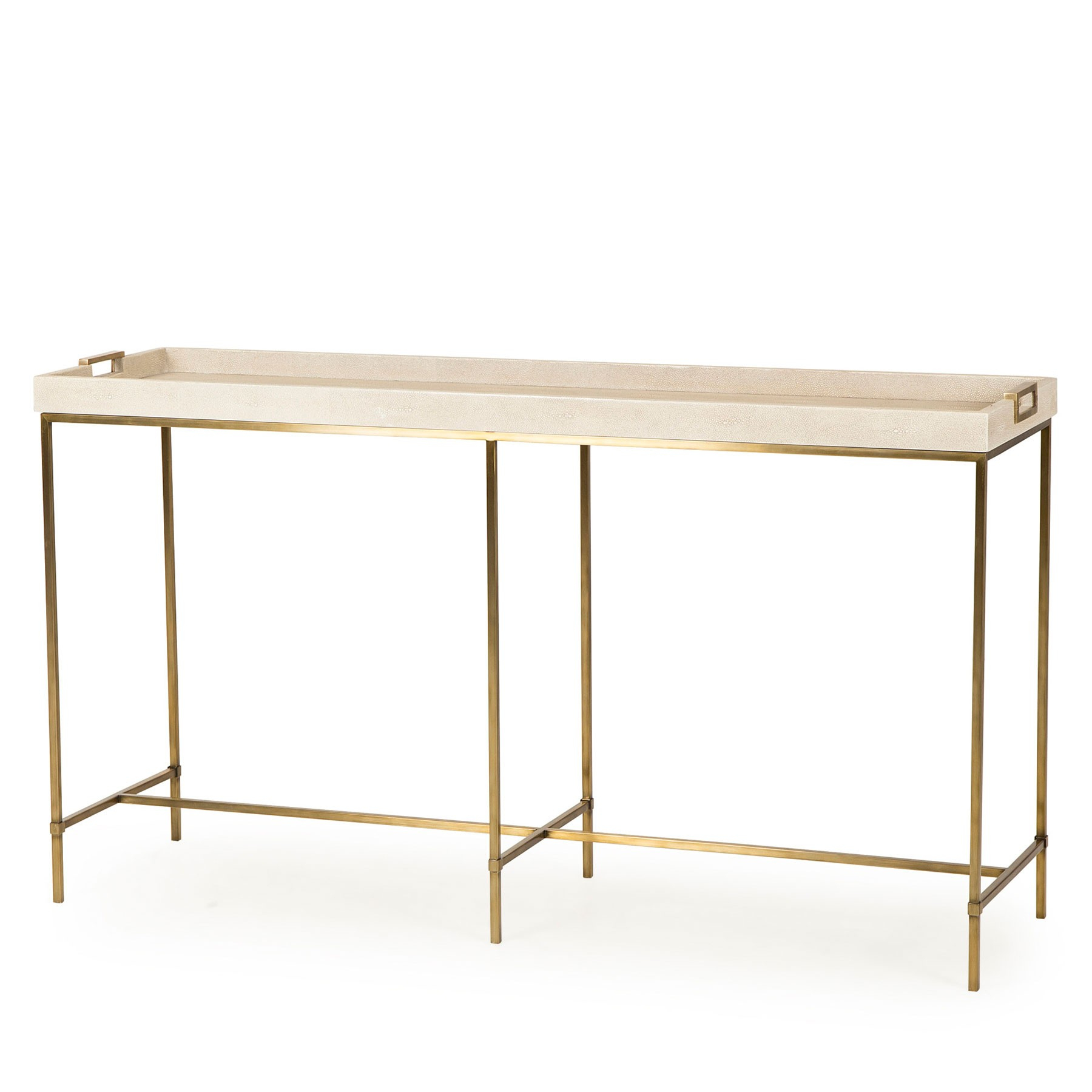 Lexi Tray Console Table – Ivory Inside Grey Shagreen Media Console Tables (View 14 of 30)