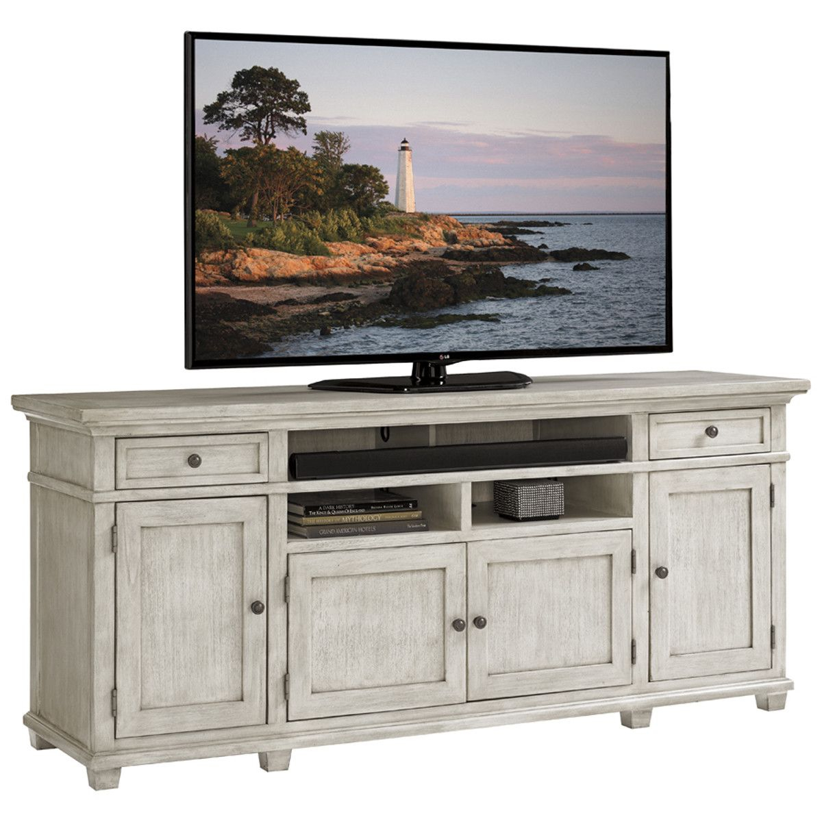 Lexington Oyster Bay Kings Point Media Console | Virtual Home with regard to Sinclair Grey 54 Inch Tv Stands (Image 15 of 30)