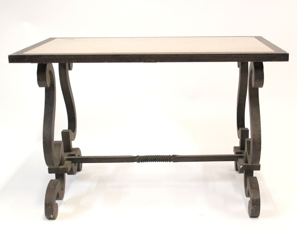 Limestone And Wrought Iron End Table At 1stdibs Long Accent Table Throughout Era Limestone Console Tables (View 7 of 30)