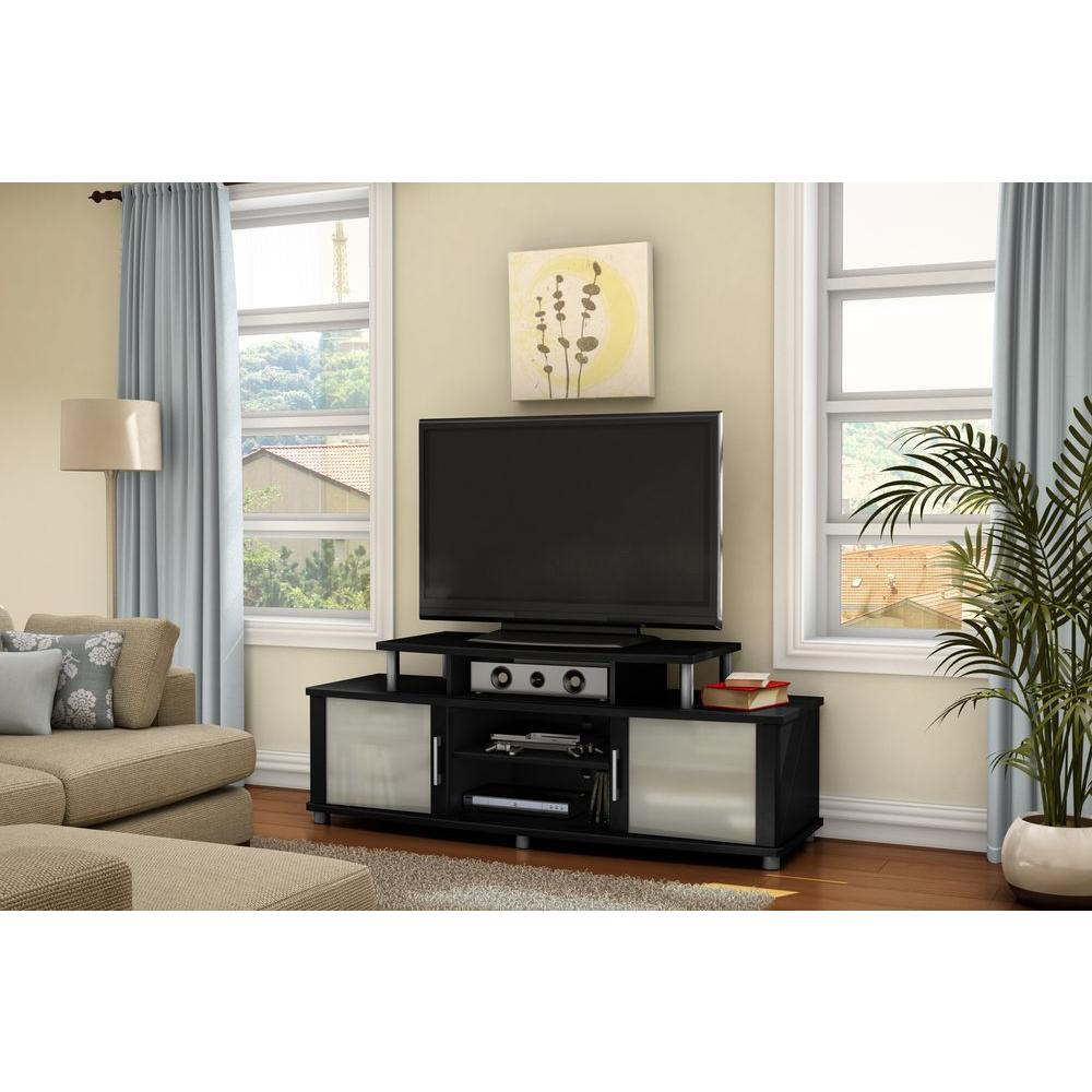 Linon Home Decor Austin Black And Ash Shelved Entertainment Center Inside Edwin Grey 64 Inch Tv Stands (View 18 of 30)