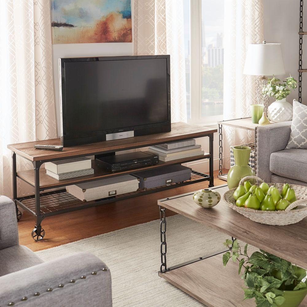 Linon Home Decor Austin Black And Ash Shelved Entertainment Center Intended For Edwin Grey 64 Inch Tv Stands (View 22 of 30)