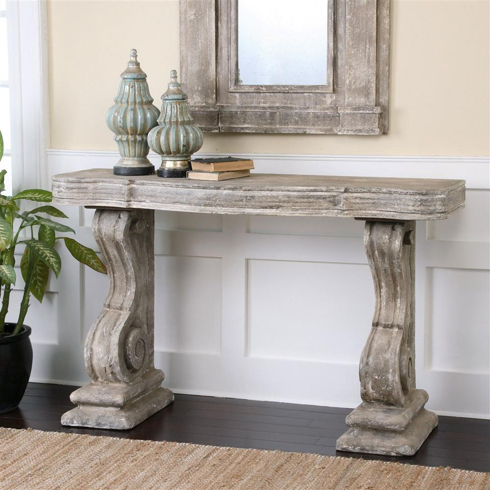Lisette French Country Antique Grey Stone Carved Console Table Regarding Antique White Distressed Console Tables (View 13 of 30)