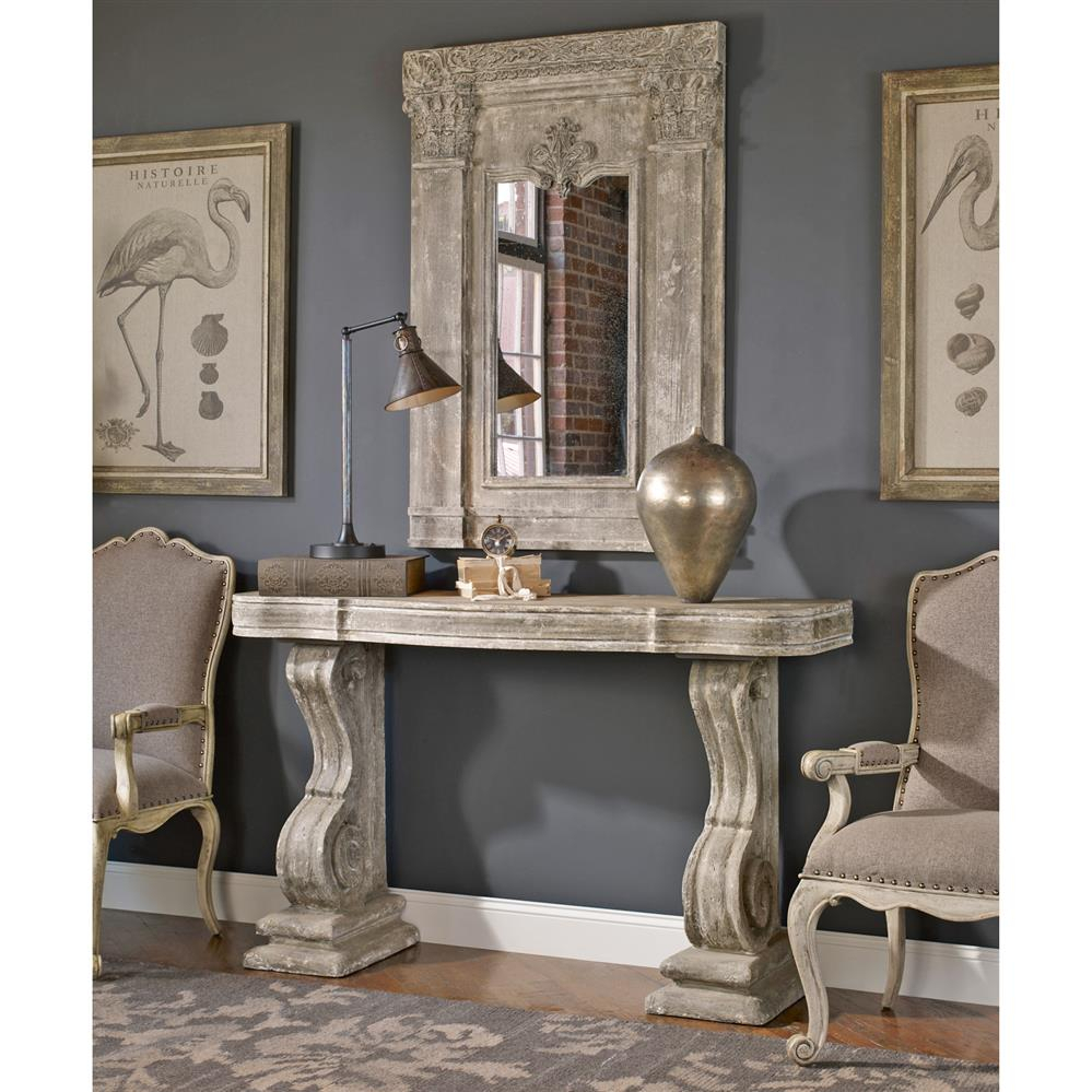 Lisette French Country Antique Grey Stone Carved Console Table Regarding Hand Carved White Wash Console Tables (View 24 of 30)
