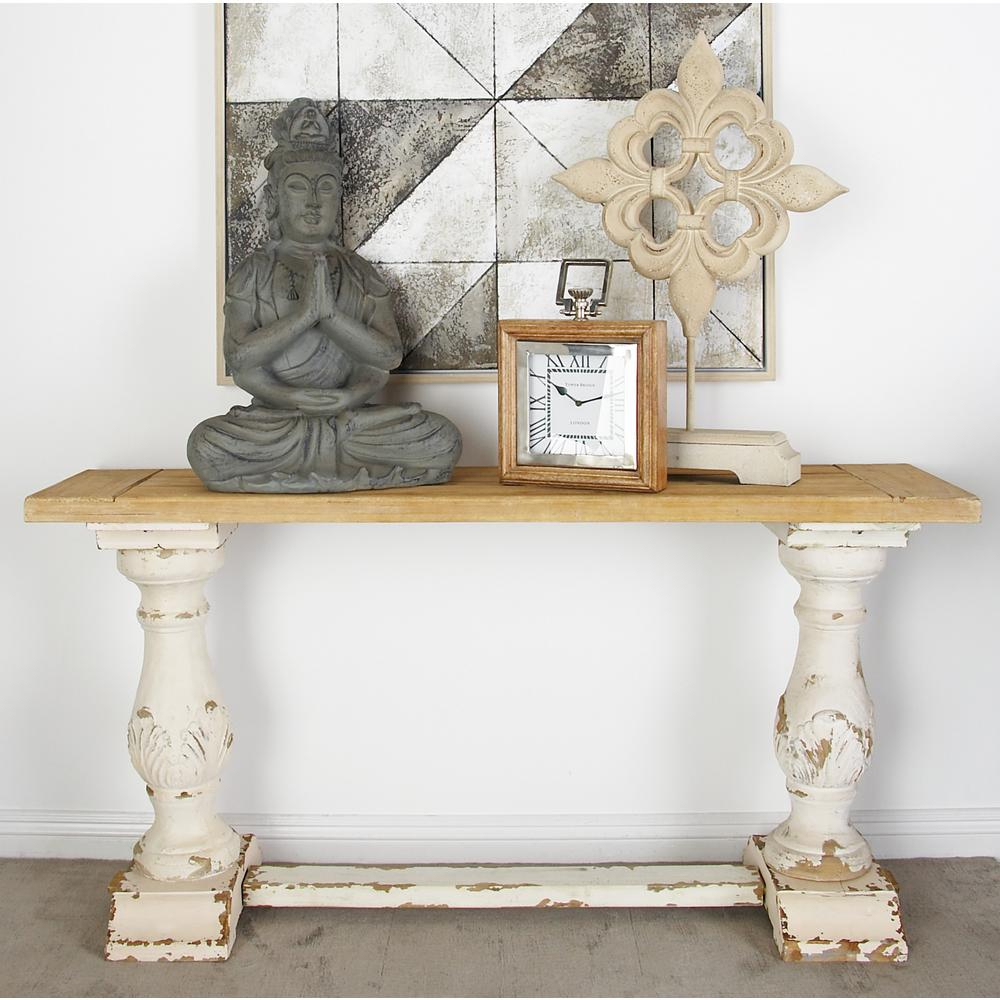 Litton Lane Distressed White Console Table 14840 – The Home Depot In Antique White Distressed Console Tables (View 6 of 30)